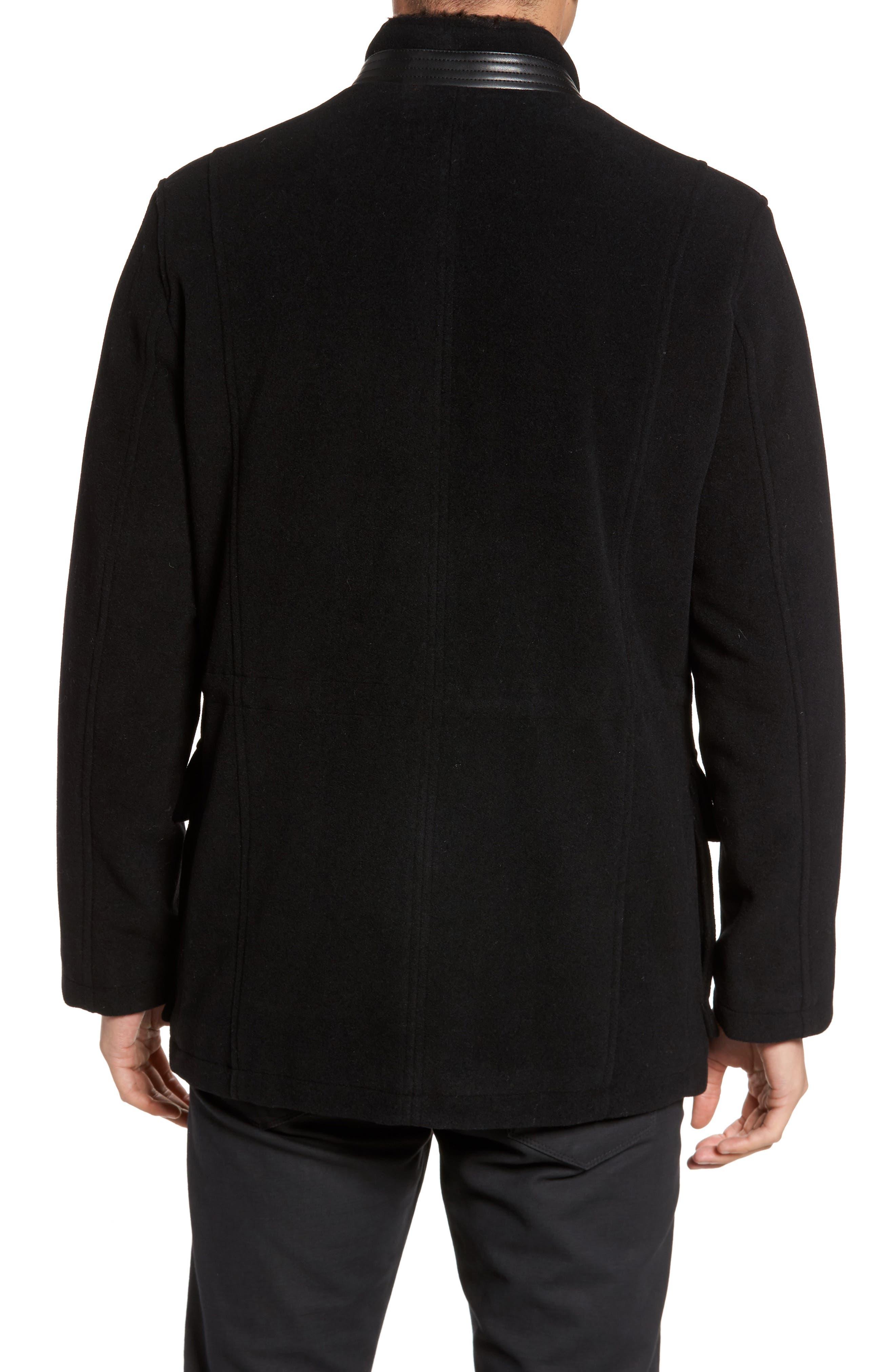 Faux Fur Collar Wool Blend Parka,                             Alternate thumbnail 2, color,                             Black