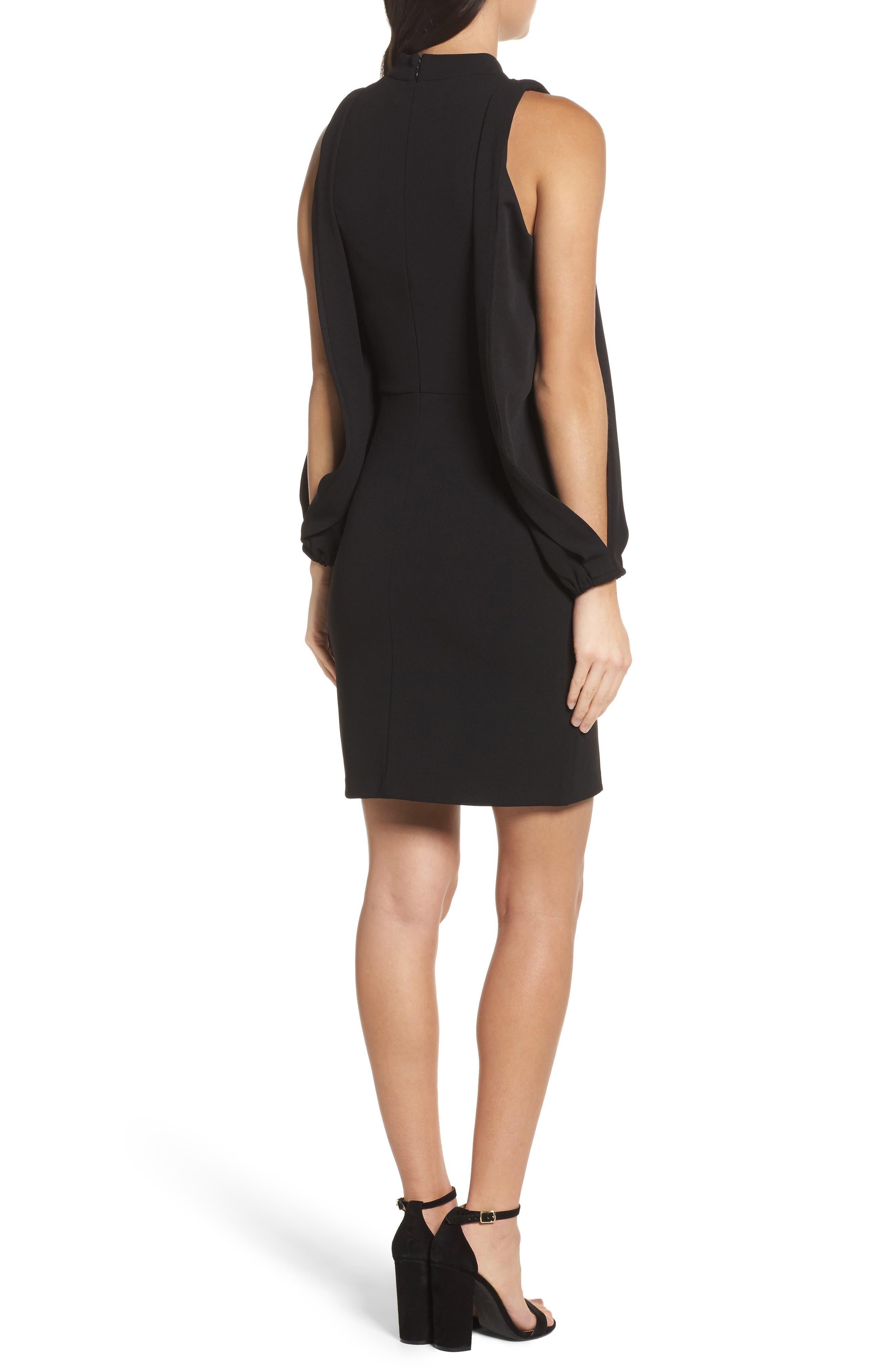 Split Sleeve Shift Dress,                             Alternate thumbnail 2, color,                             Black