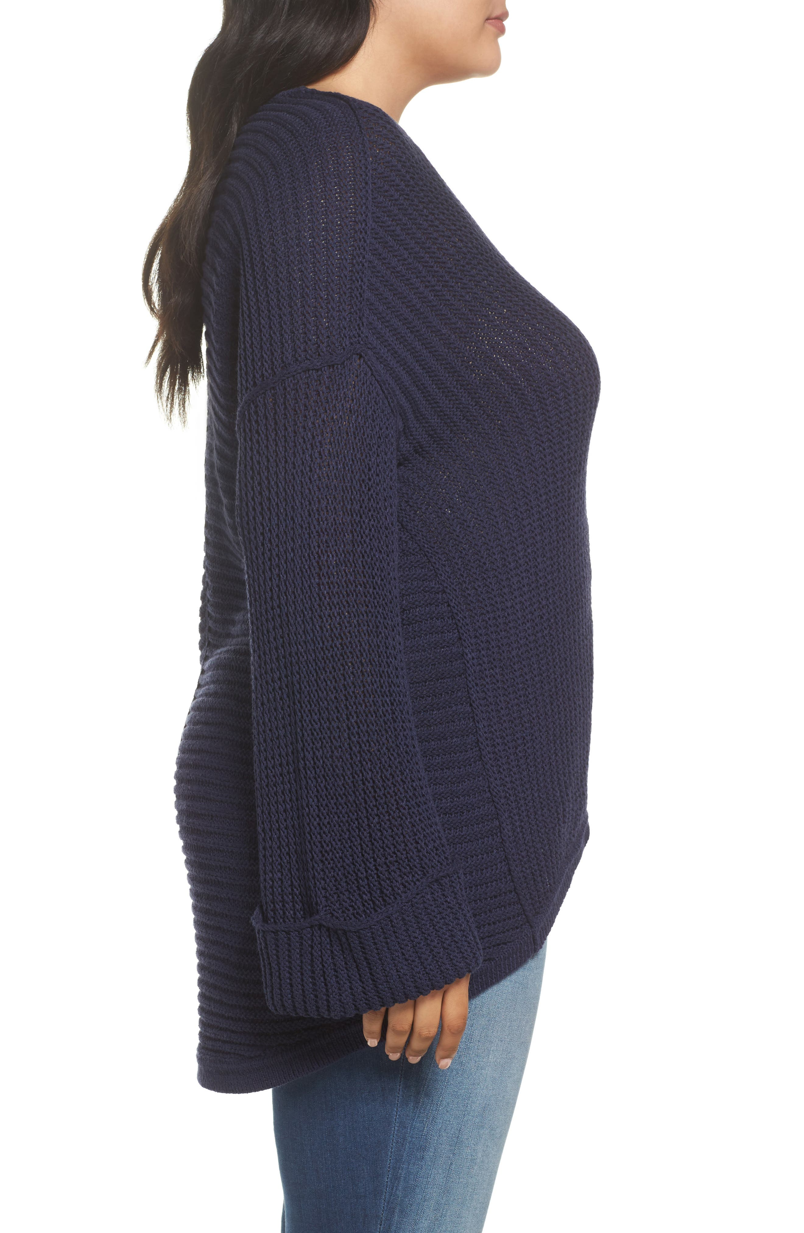 Cuffed Bell Sleeve Sweater,                             Alternate thumbnail 3, color,                             Navy Peacoat