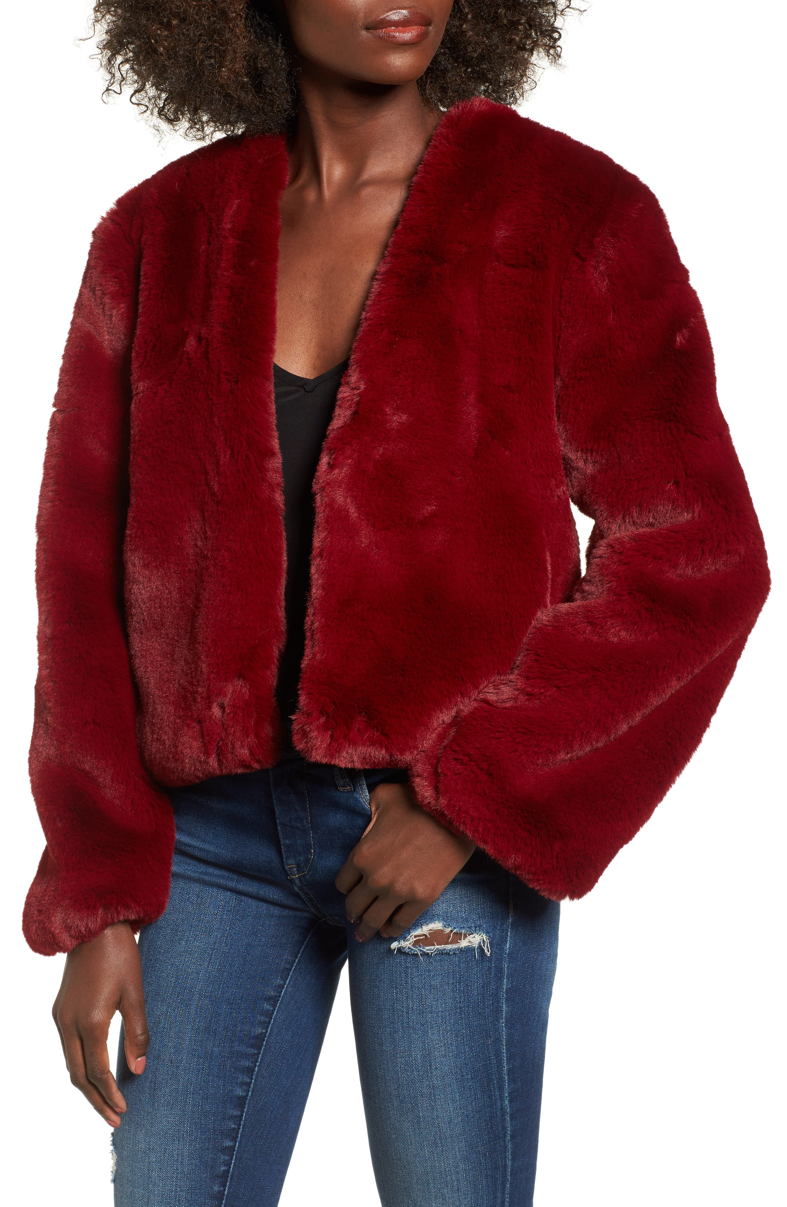 Lonely Hearts Faux Fur Jacket,                             Main thumbnail 1, color,                             Ruby
