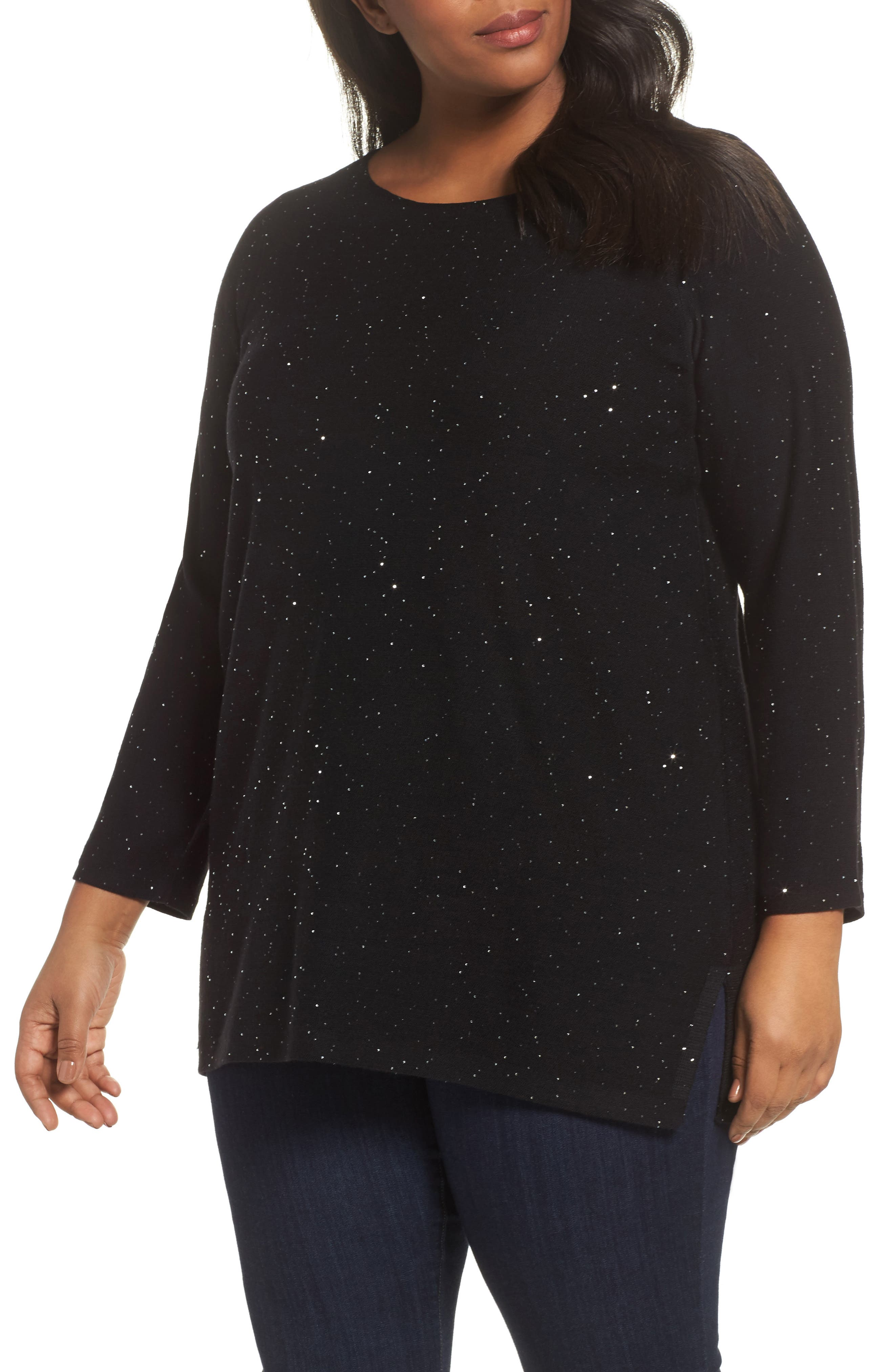 Sequin Merino Wool Tunic Sweater,                             Main thumbnail 1, color,                             Black