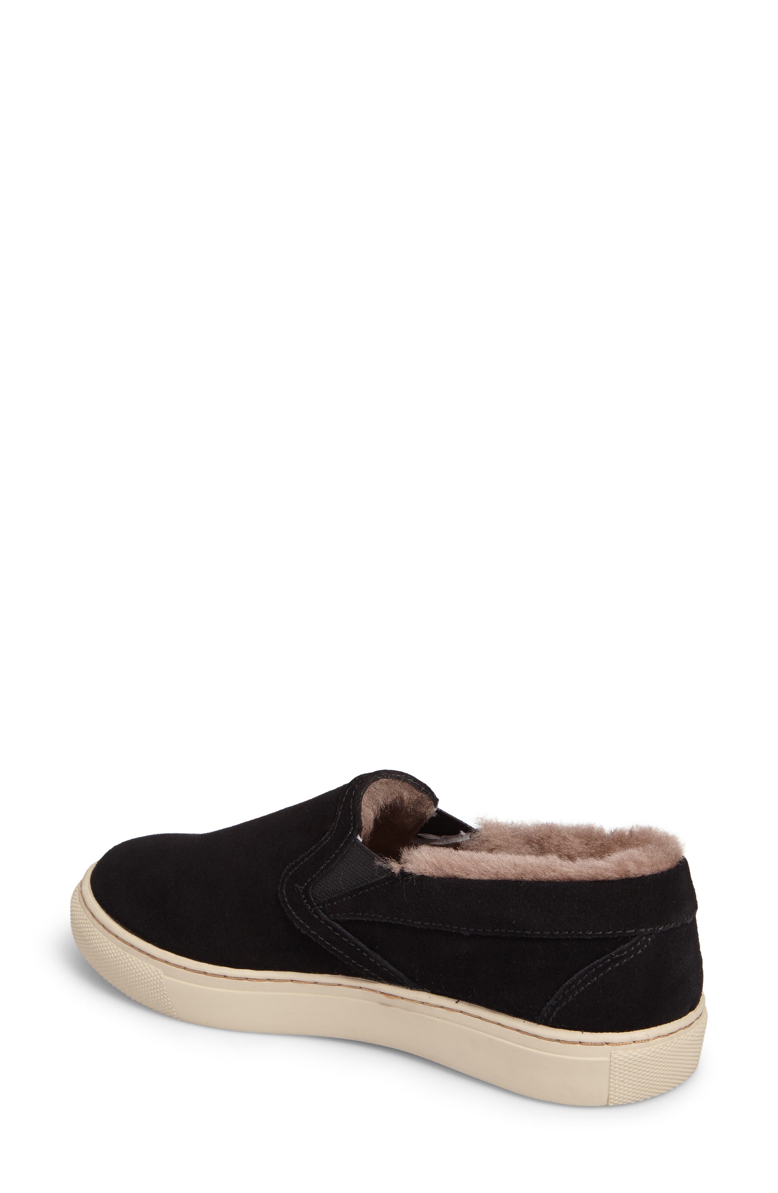 Fawn Waterproof Genuine Shearling Slip-On,                             Alternate thumbnail 2, color,                             Black Suede