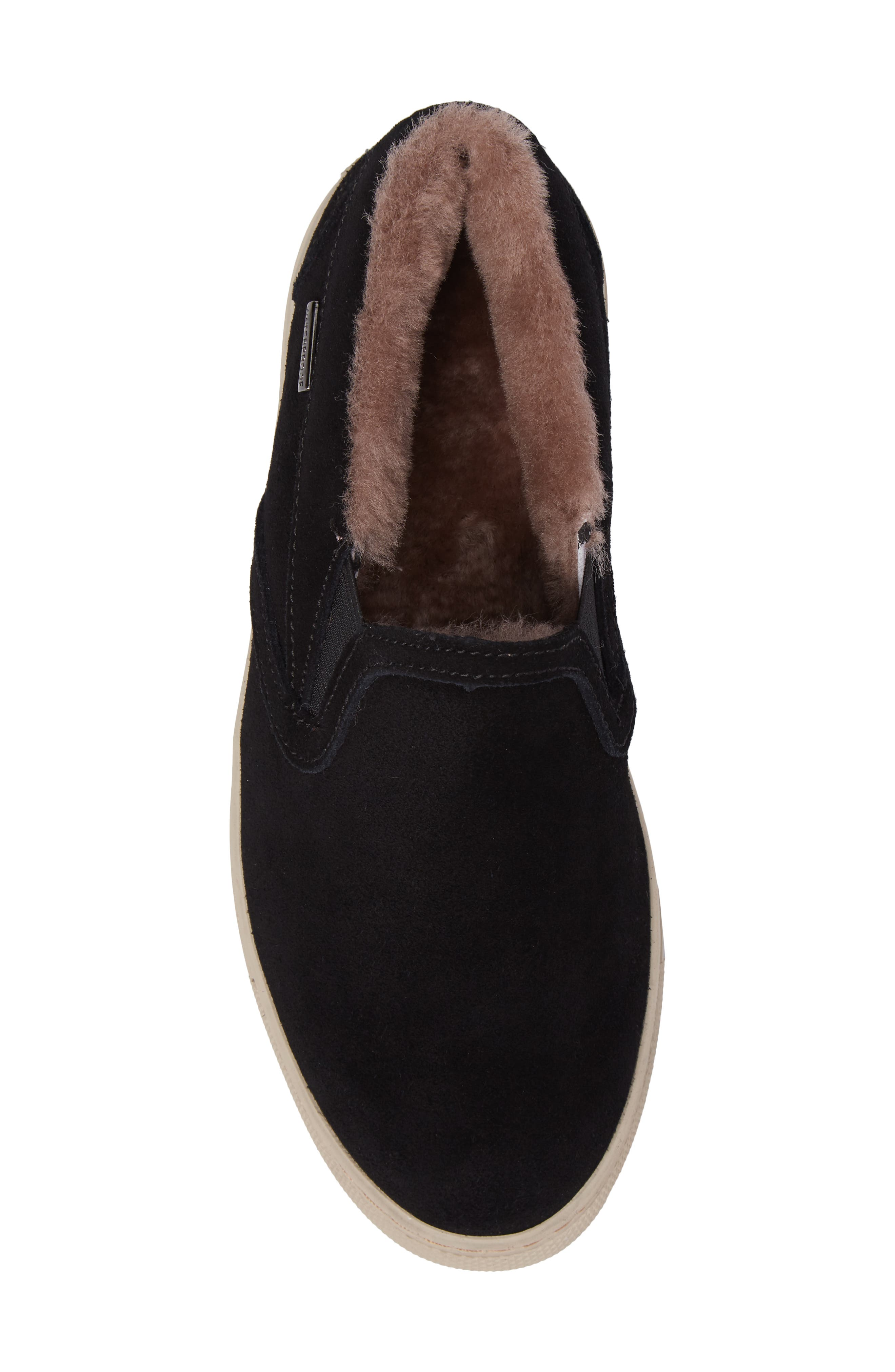 Fawn Waterproof Genuine Shearling Slip-On,                             Alternate thumbnail 5, color,                             Black Suede