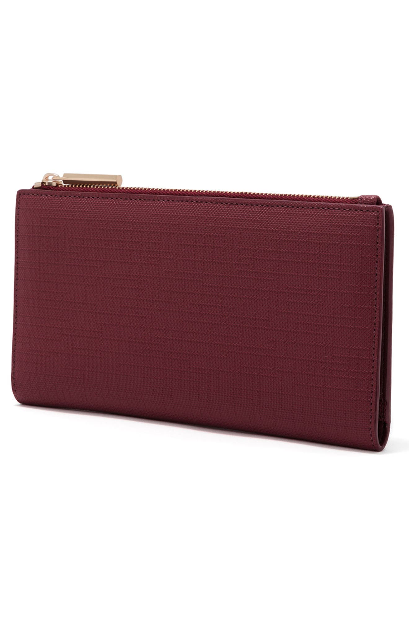 Signature Slim Coated Canvas Wallet,                             Alternate thumbnail 4, color,                             Syrah