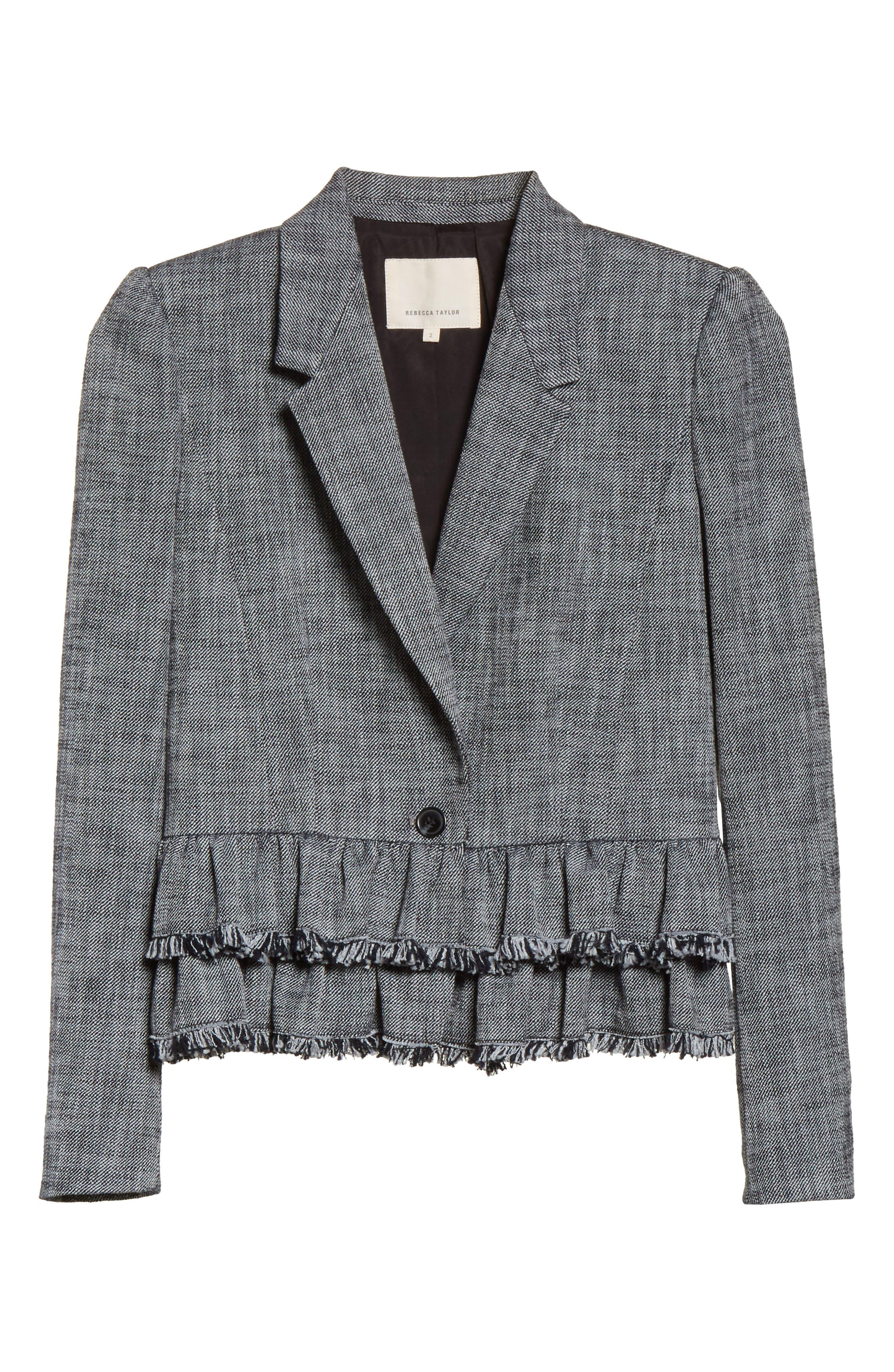 Slub Suiting Jacket,                             Alternate thumbnail 6, color,                             Grey/ Black Combo