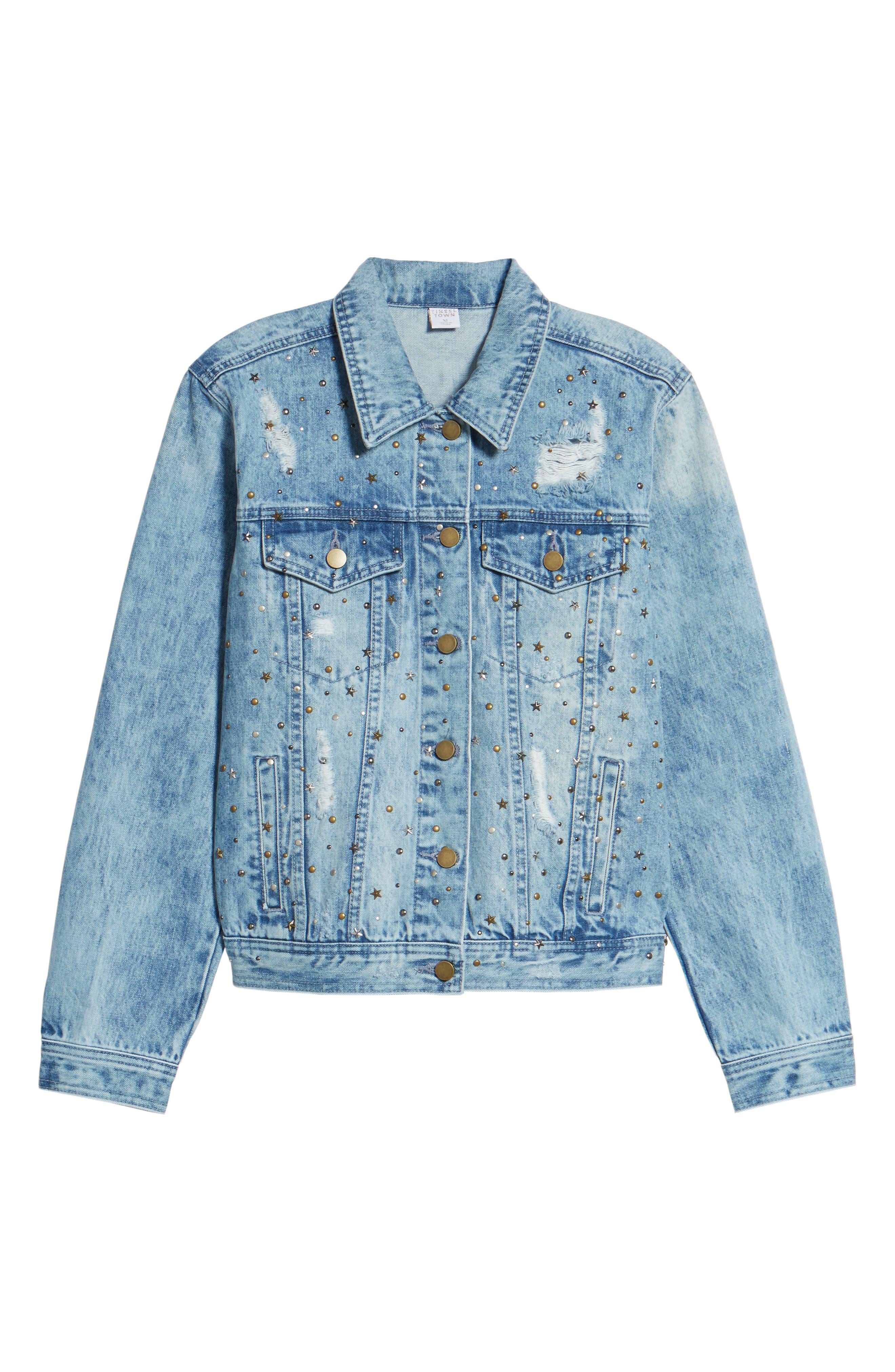 Star & Stud Denim Jacket,                             Alternate thumbnail 6, color,                             Blue