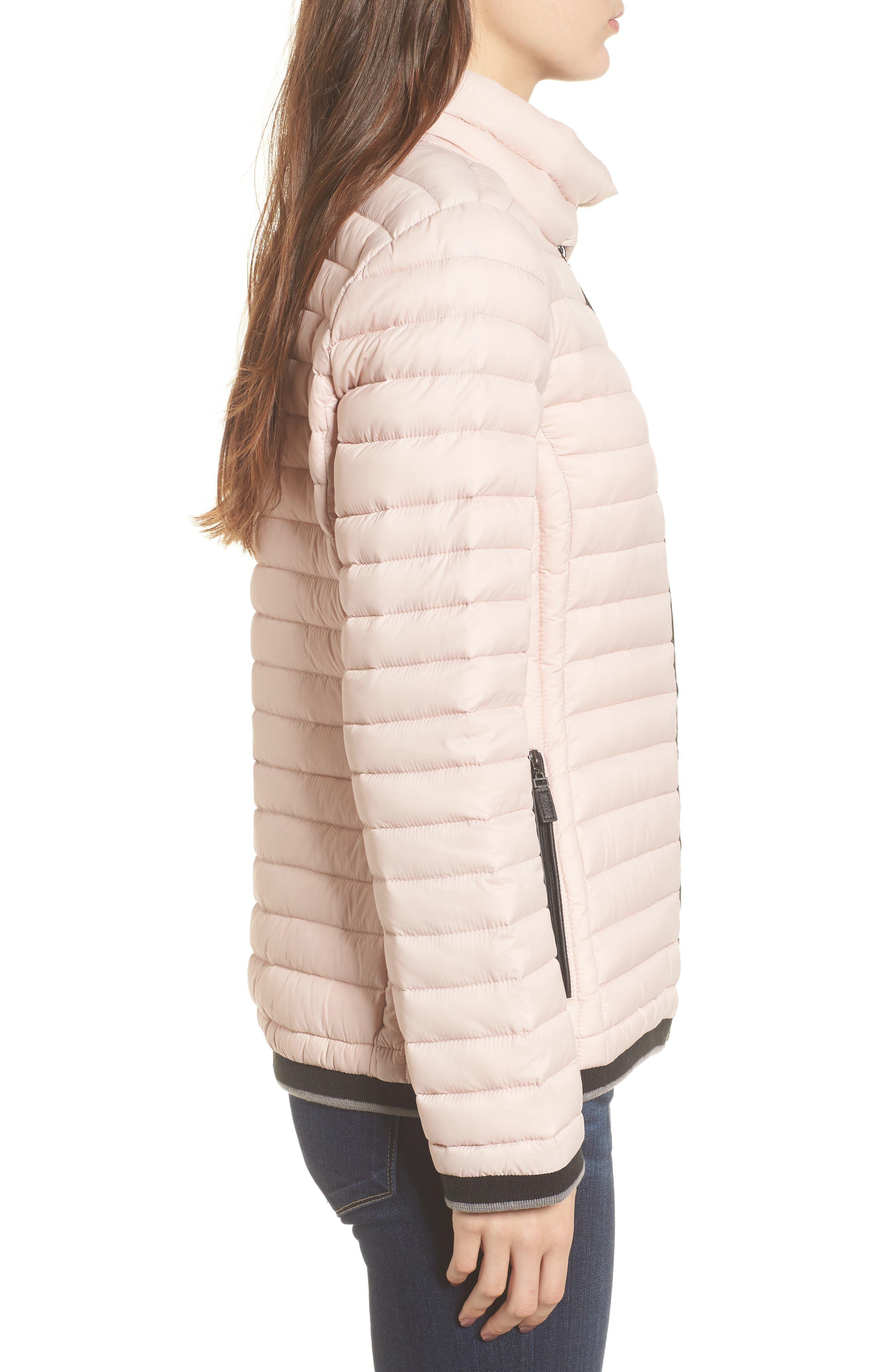 Stripe Trim Packable Down Jacket,                             Alternate thumbnail 3, color,                             Chablis