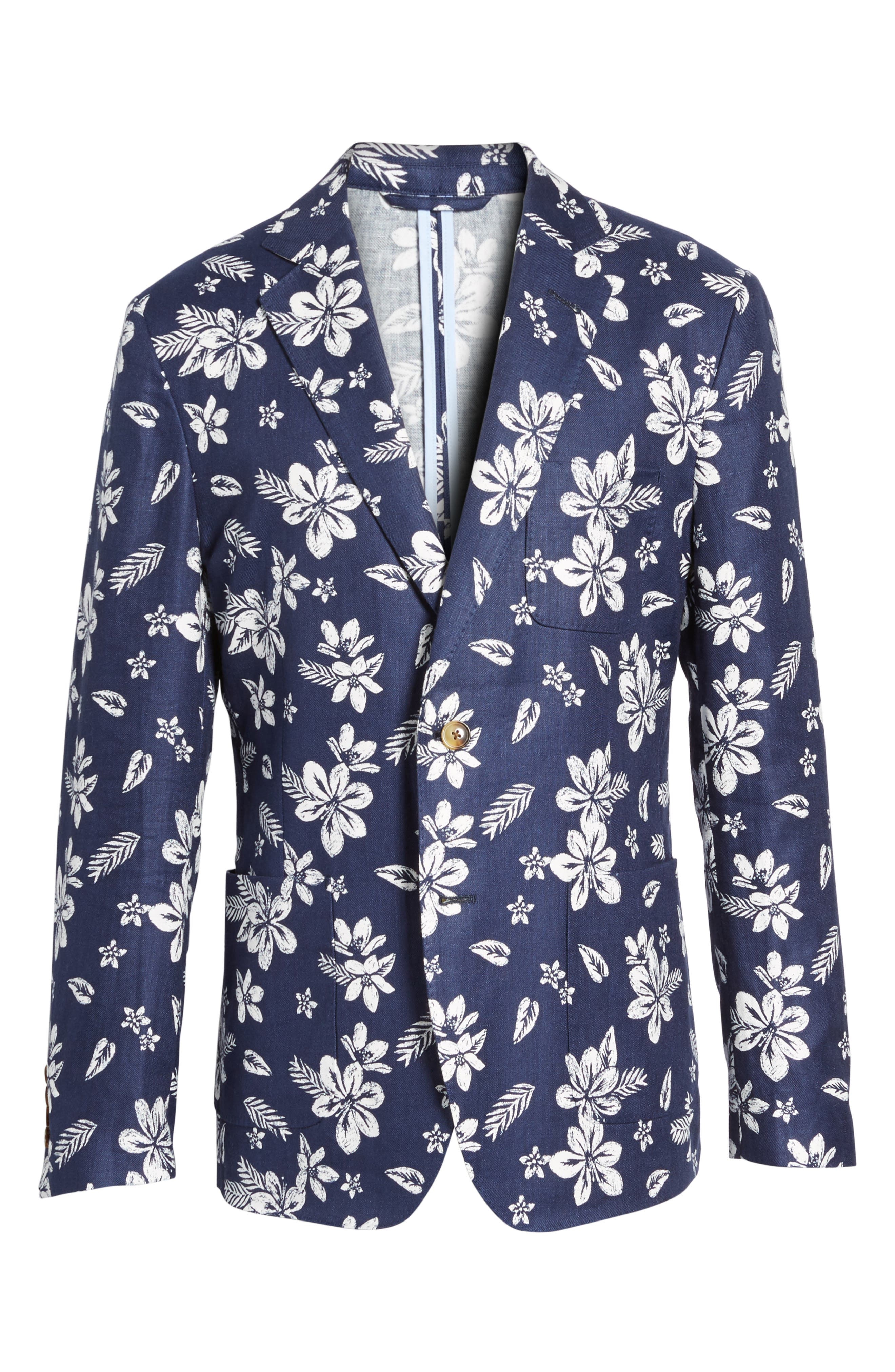 Classic Fit Floral Linen Blend Sport Coat,                             Alternate thumbnail 6, color,                             Deep Bay