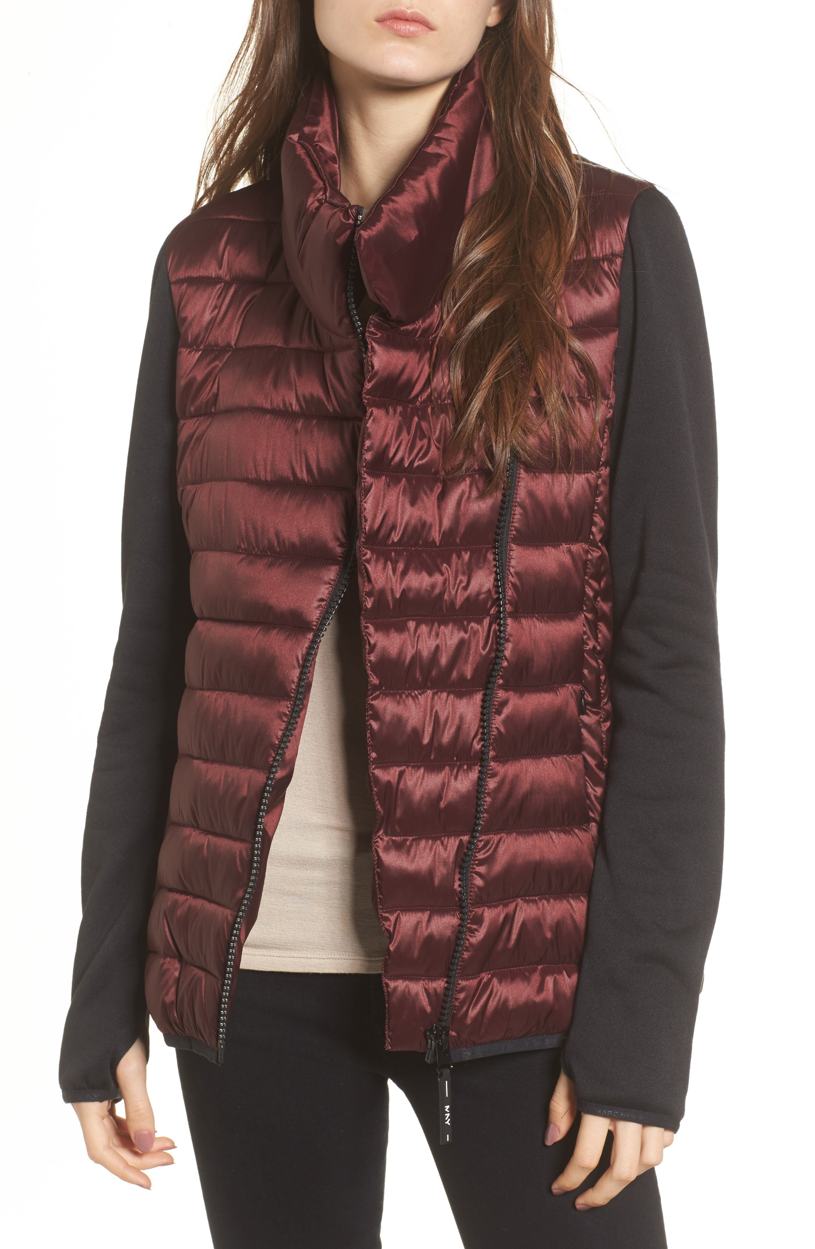 Main Image - Marc New York Knit Sleeve Packable Puffer Jacket