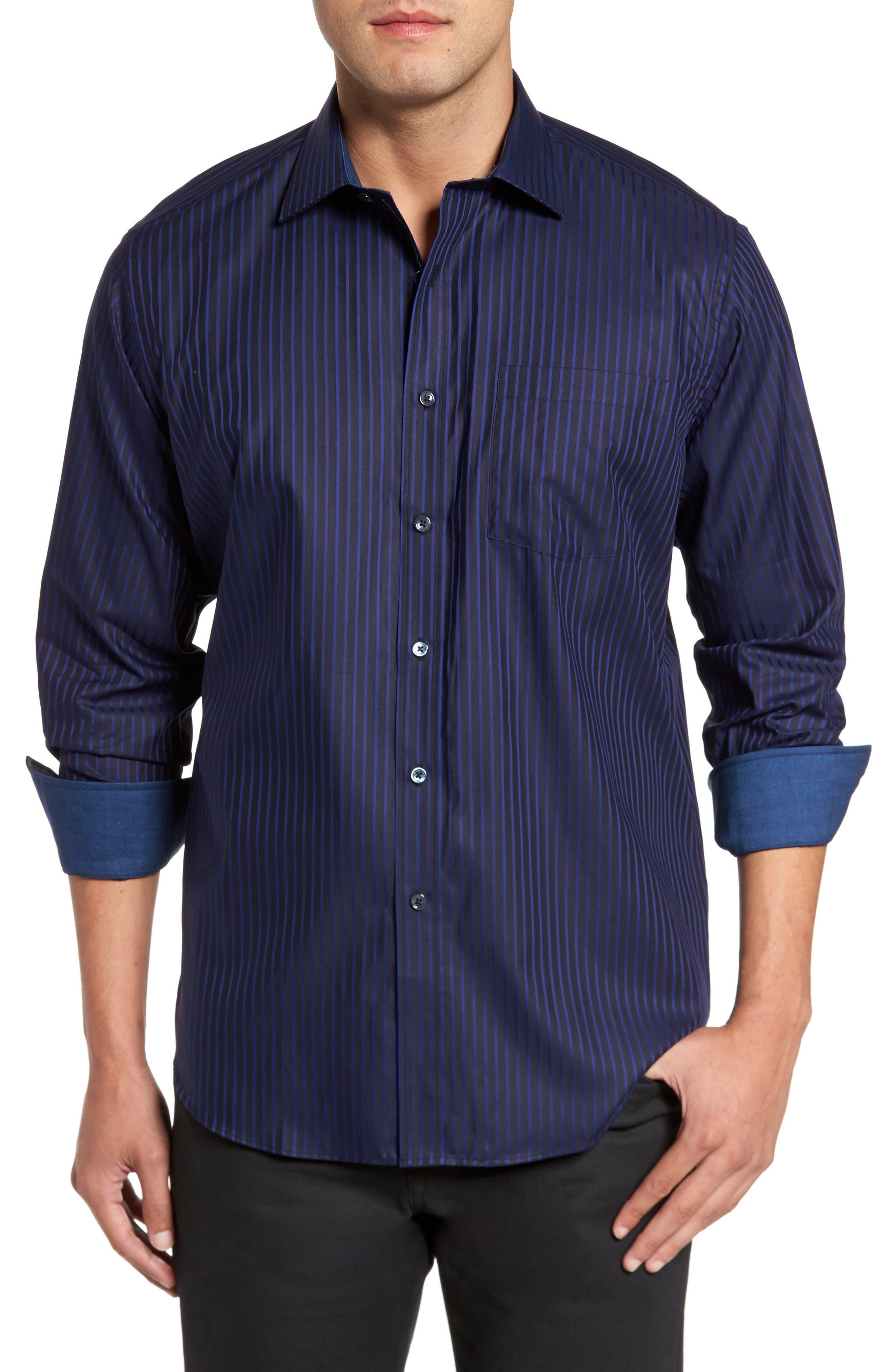 Classic Fit Stripe Sport Shirt,                         Main,                         color, Night Blue