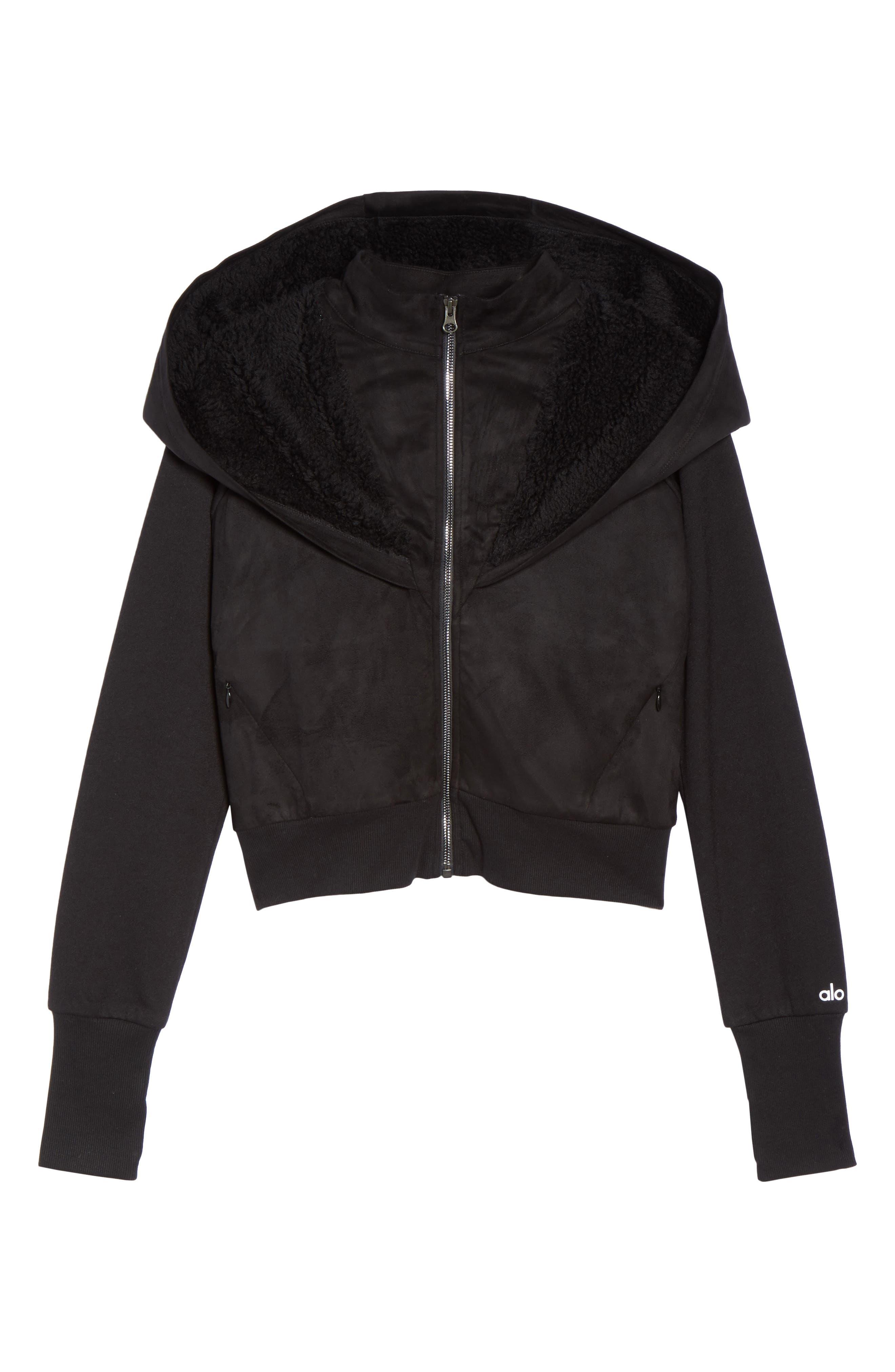 LA Winter Faux Fur Lined Jacket,                             Alternate thumbnail 7, color,                             Black