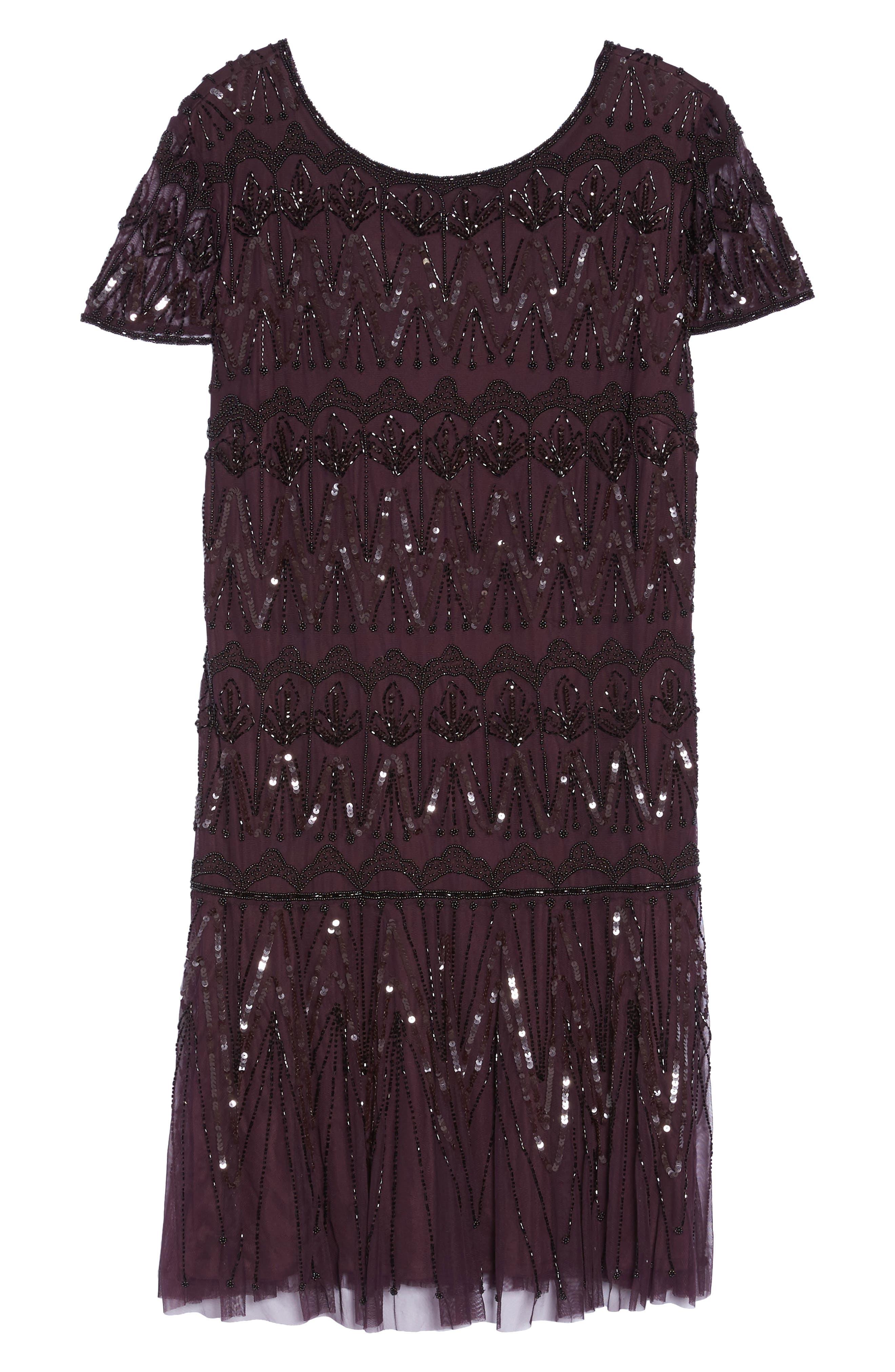 Beaded Flounce Dress,                             Alternate thumbnail 6, color,                             Wine