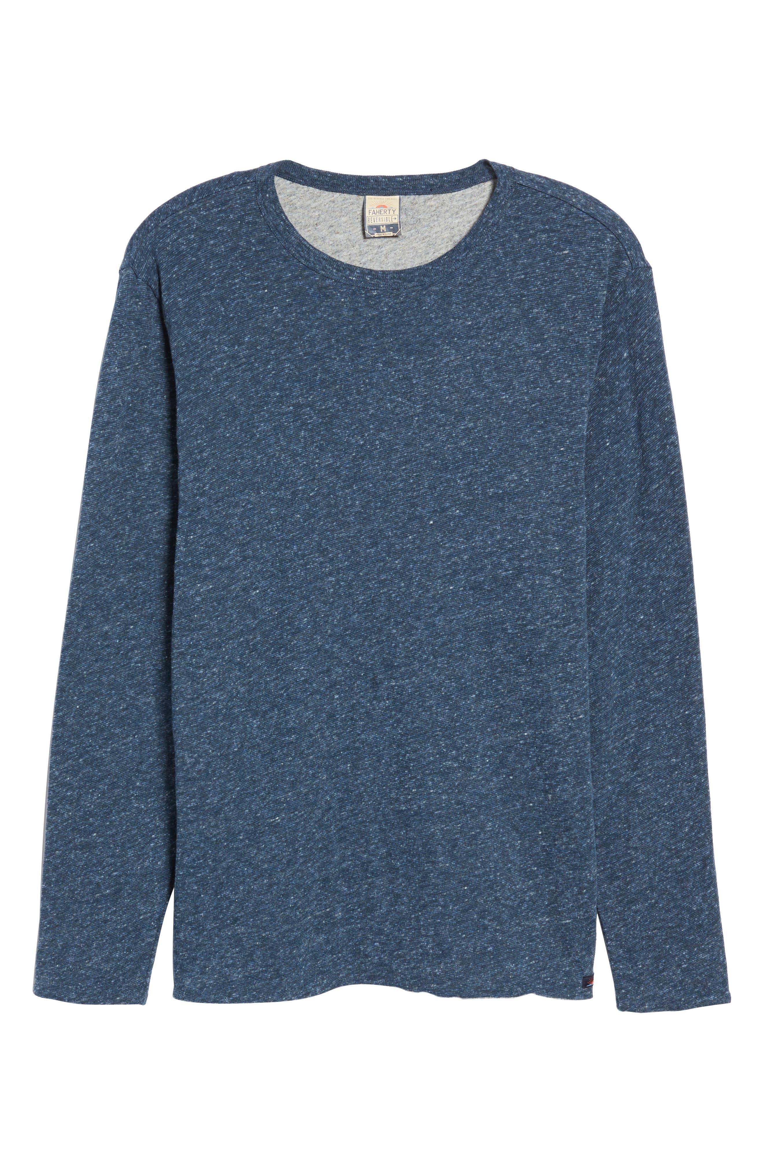 Alternate Image 6  - Faherty Heathered Reversible Long Sleeve Crewneck T-Shirt