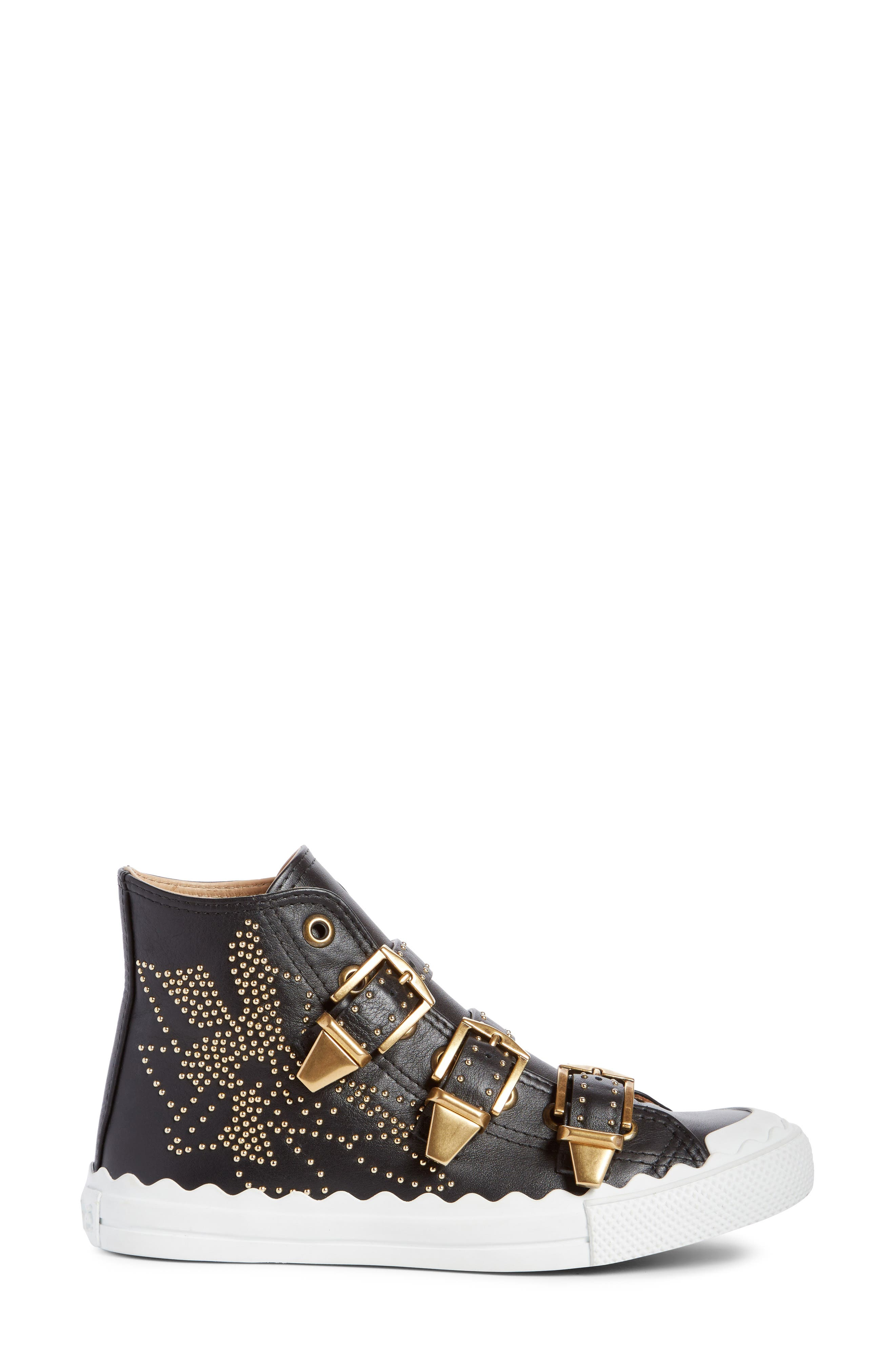 Kyle Stud Buckle High Top Sneaker,                             Alternate thumbnail 4, color,                             Black/ Gold