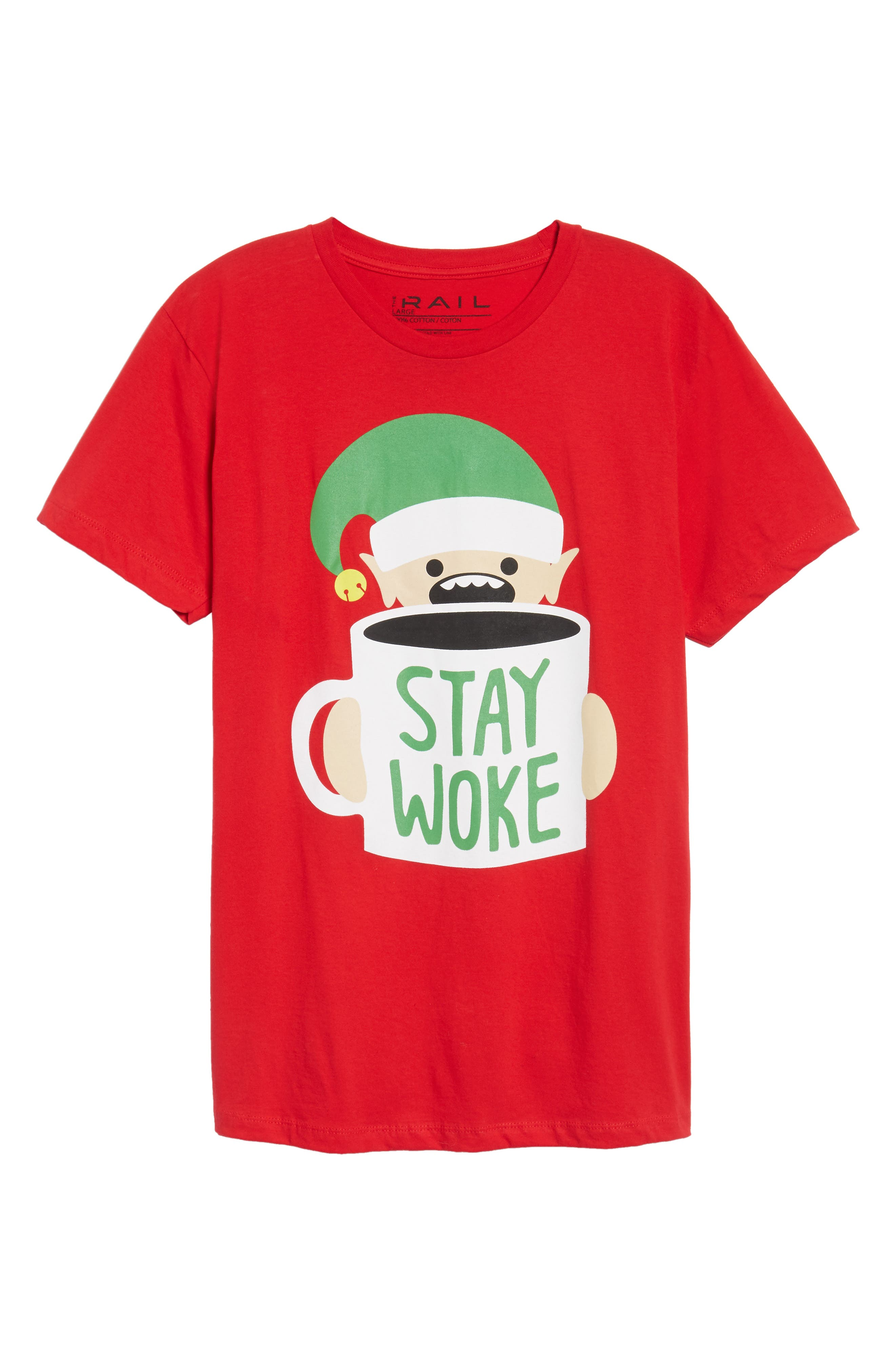 Stay Woke T-Shirt,                             Alternate thumbnail 6, color,                             Red Stay Woke