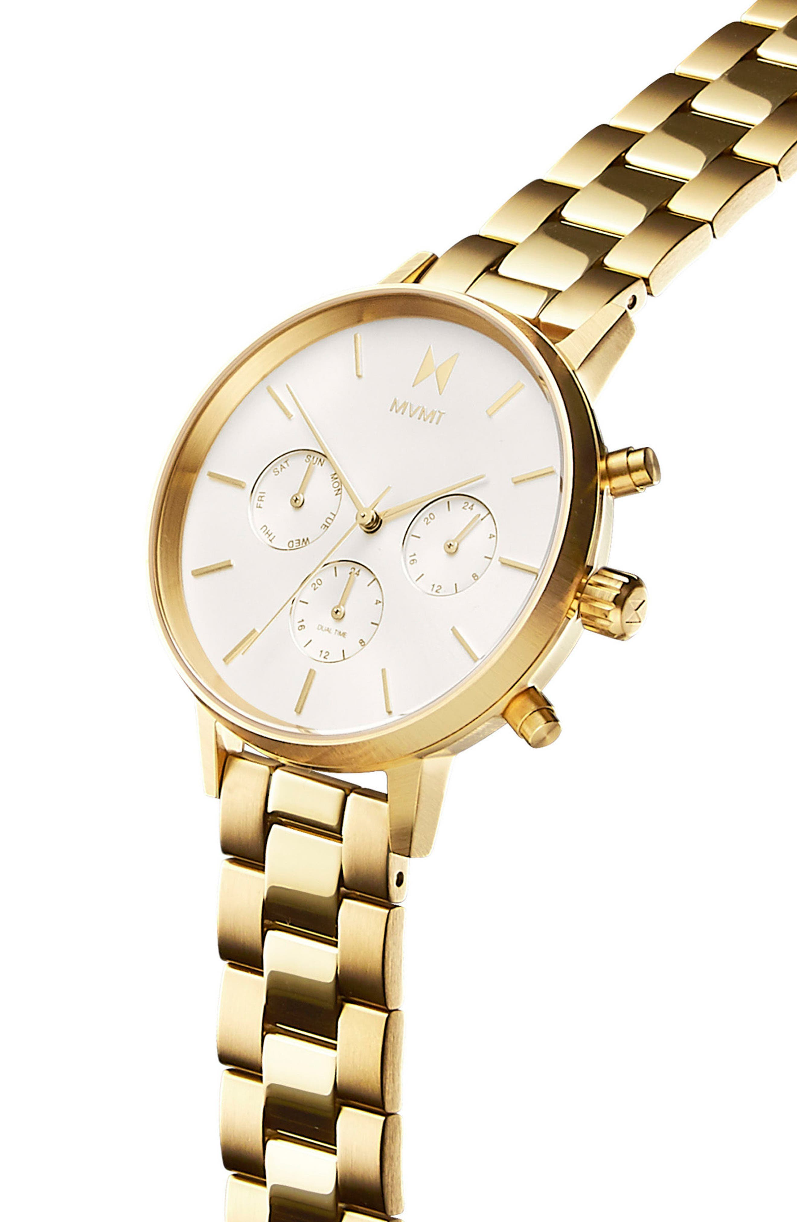 Nova Chronograph Bracelet Watch, 38mm,                             Alternate thumbnail 2, color,                             Gold/ White/ Gold