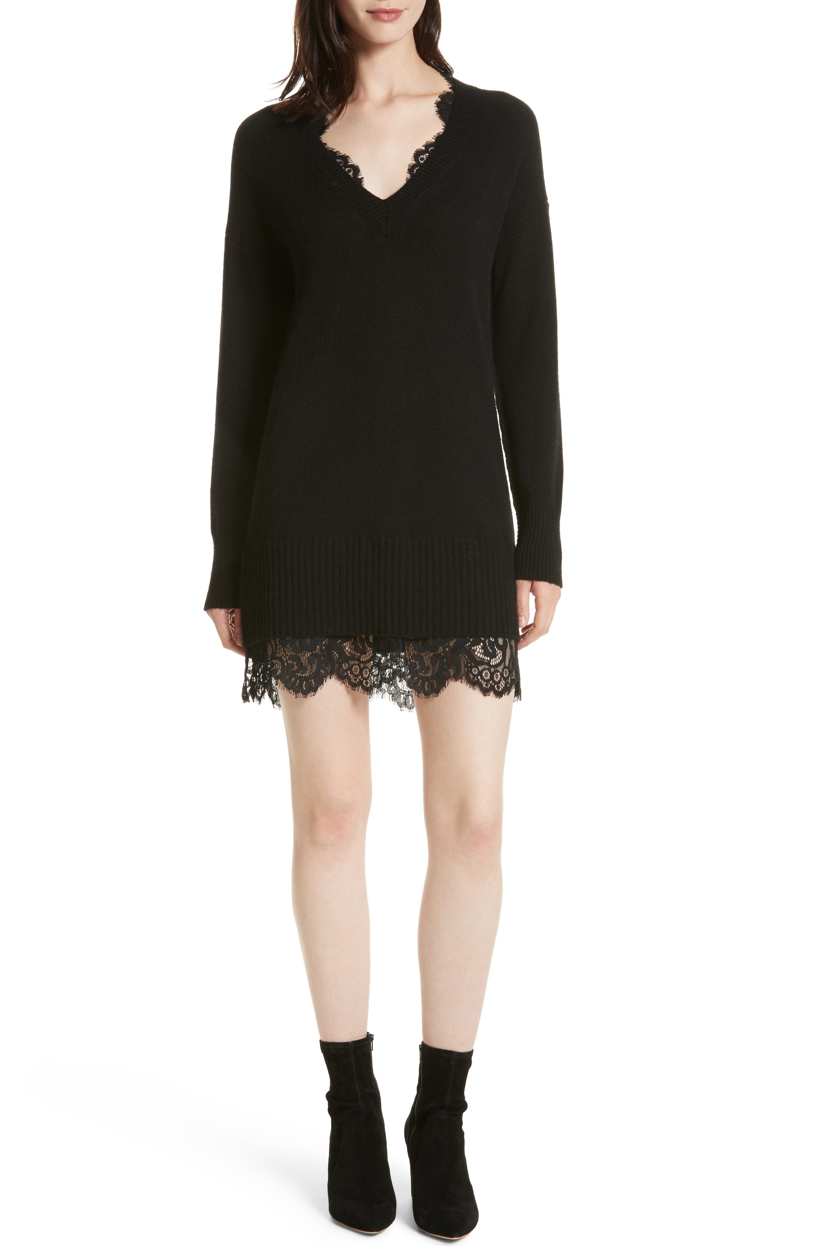 Lace Looker Sweater Dress,                             Main thumbnail 1, color,                             Black Onyx