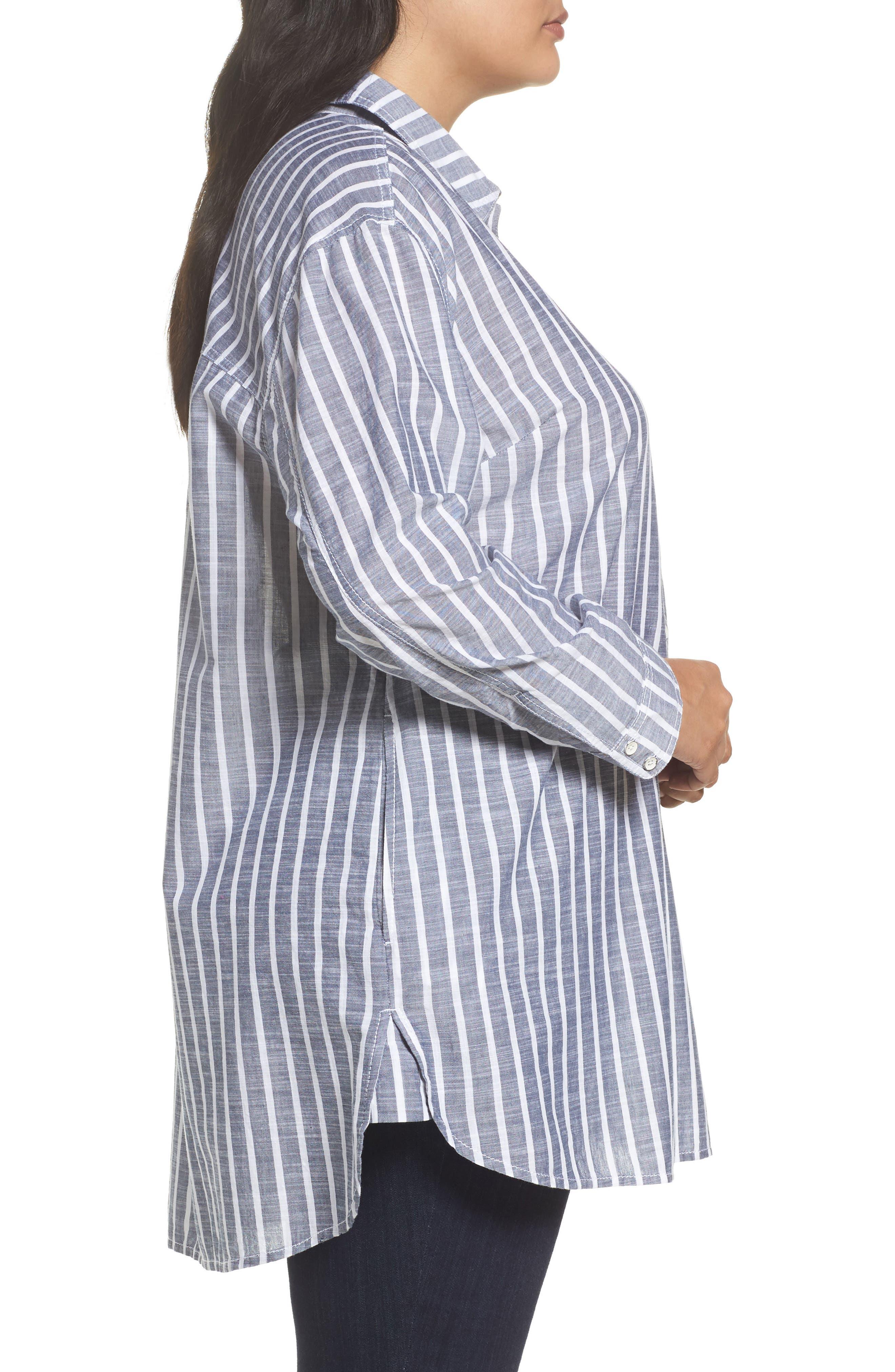 Tie Neck Cotton Tunic,                             Alternate thumbnail 4, color,                             Navy- White Stripe