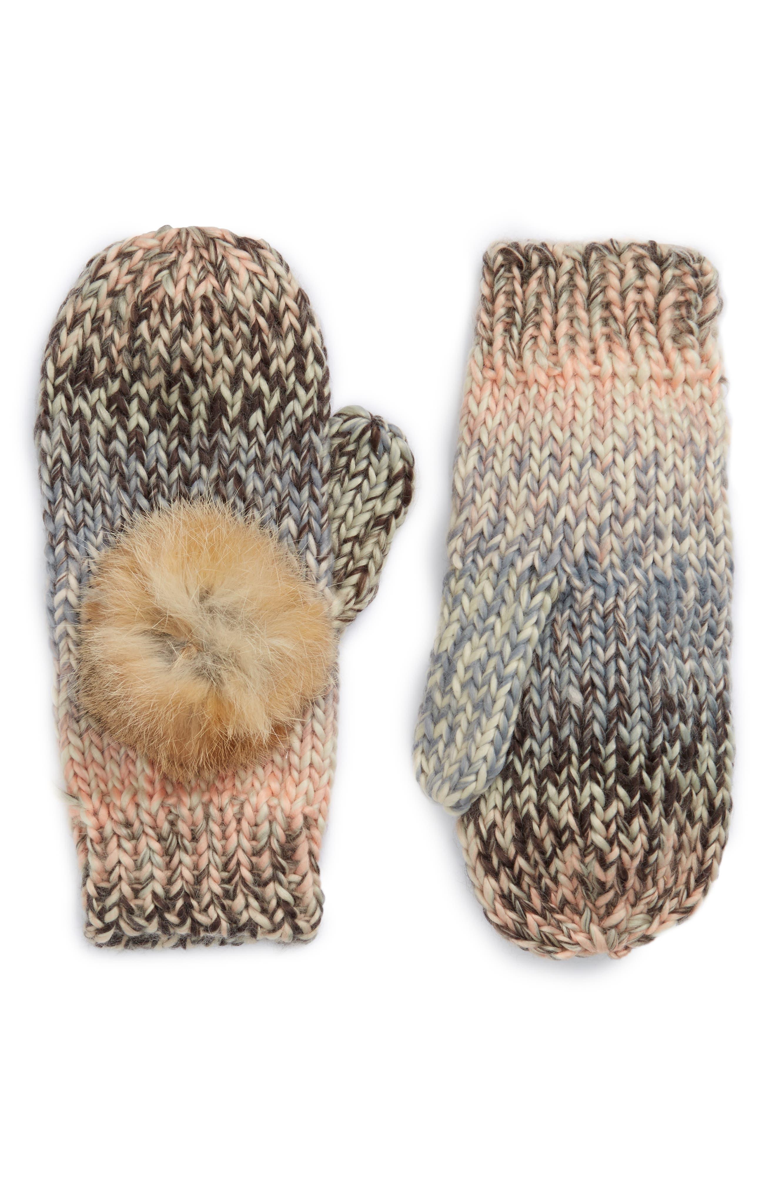 Mia Mittens with Genuine Rabbit Fur Pompoms,                             Main thumbnail 1, color,                             Multi