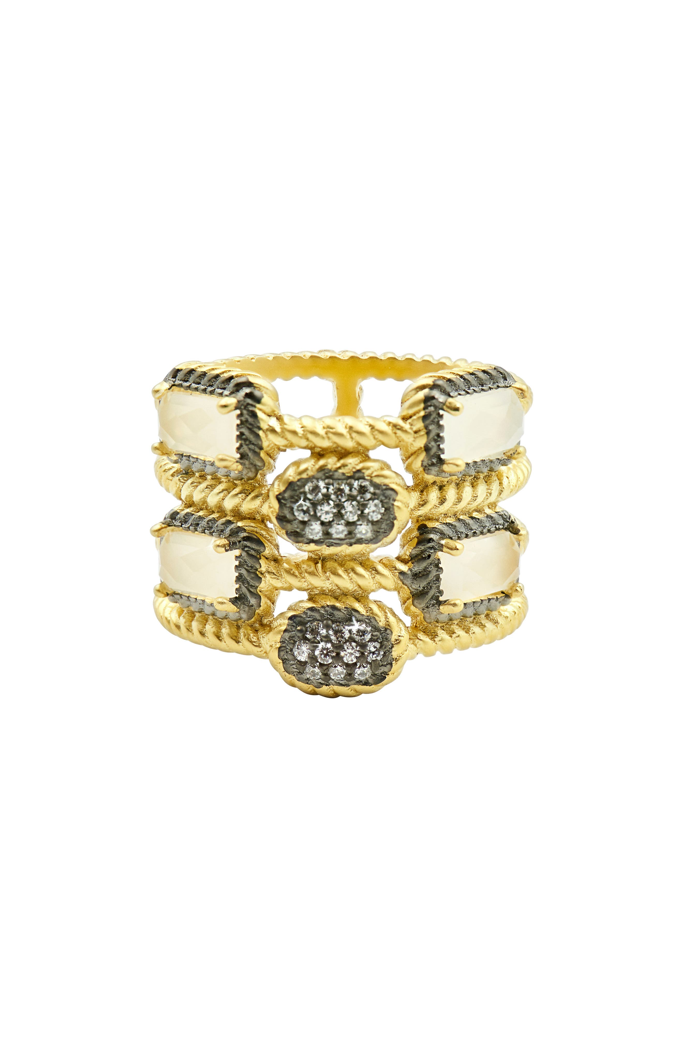 FREIDA ROTHMAN Gilded Cable Stone & Pavé Cage Ring