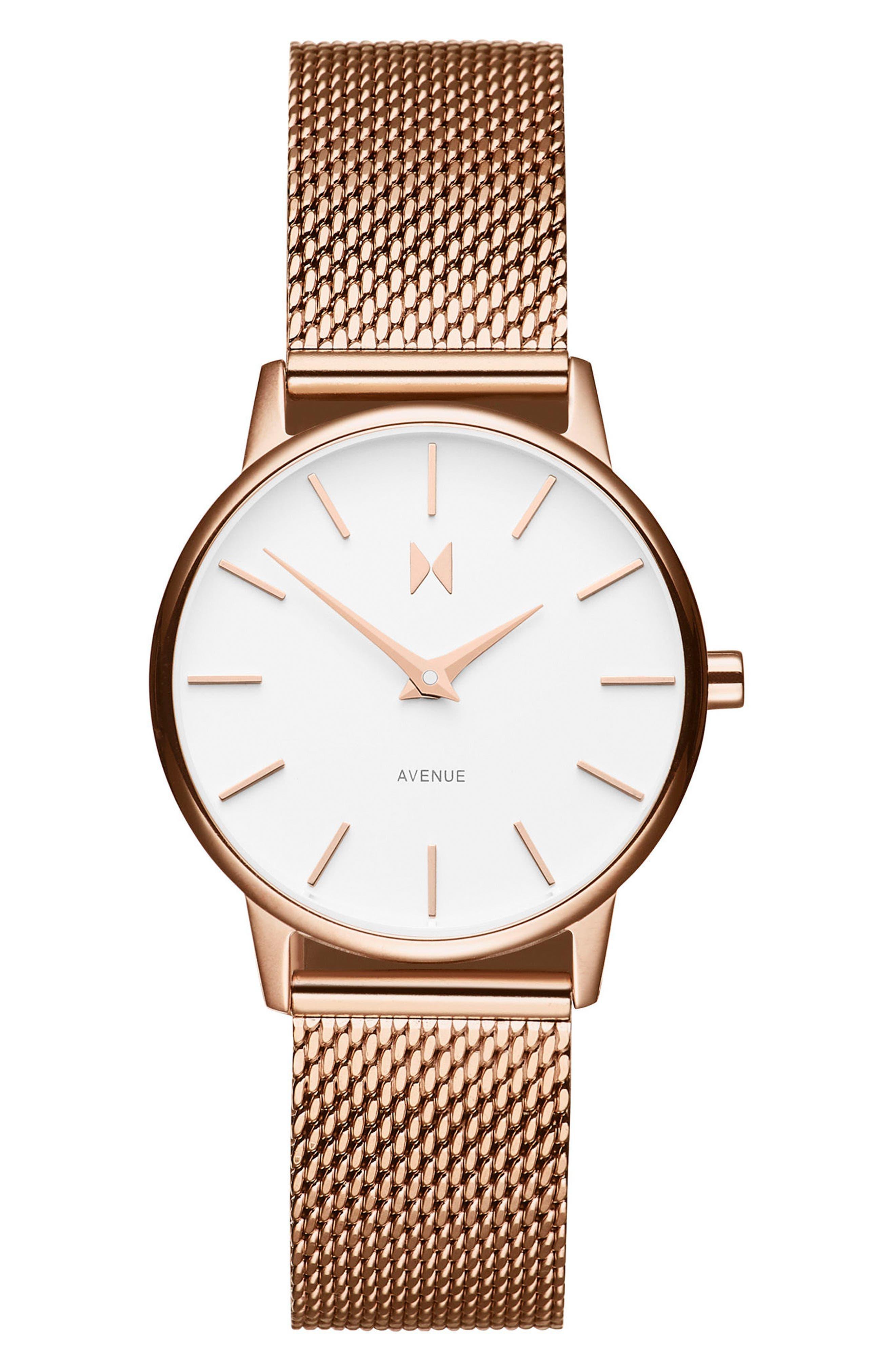Avenue Lexington Mesh Strap Watch, 28mm,                         Main,                         color, Rose Gold/ White/ Rose Gold