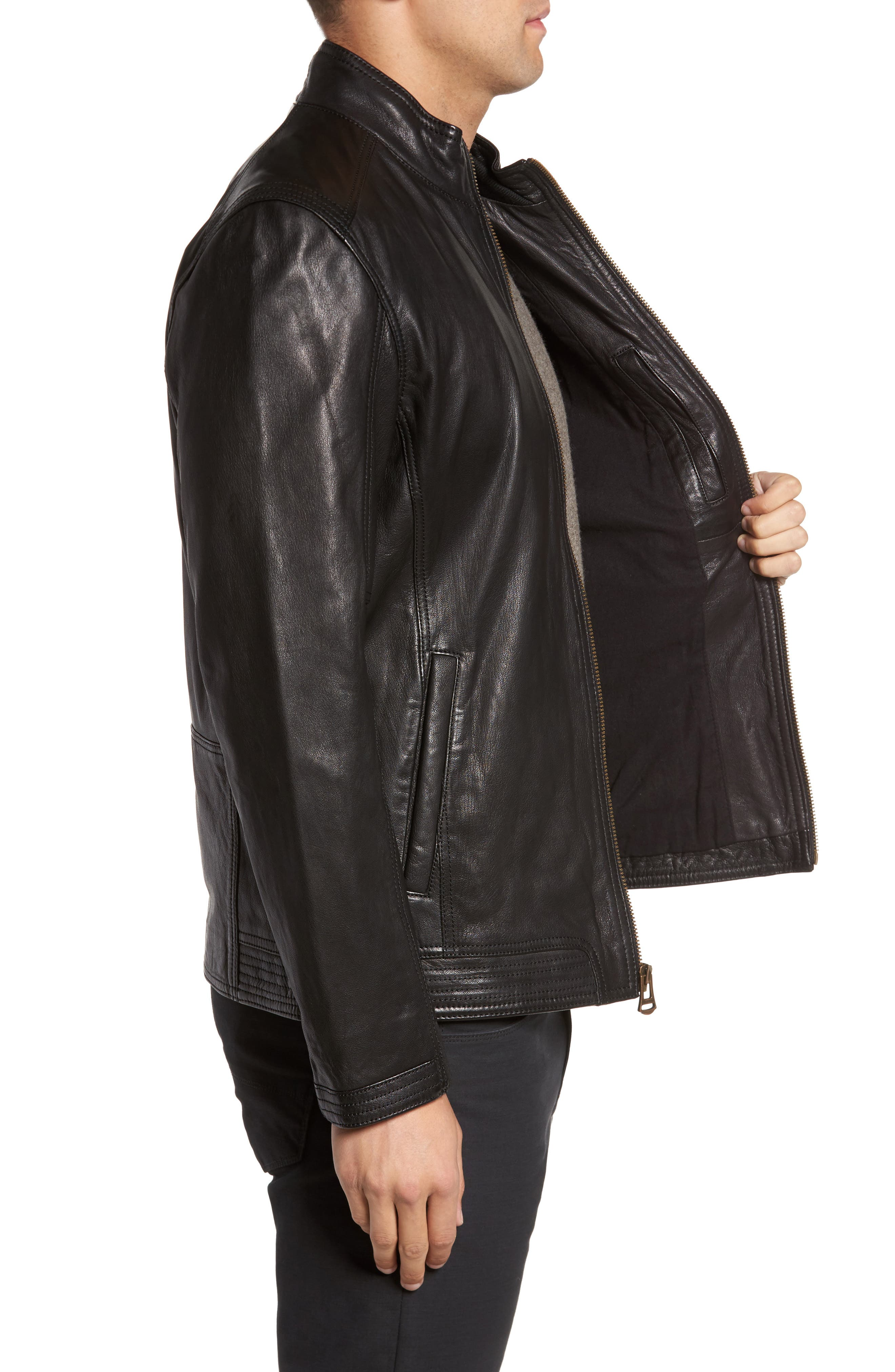 Alternate Image 3  - Cole Haan Washed Leather Jacket
