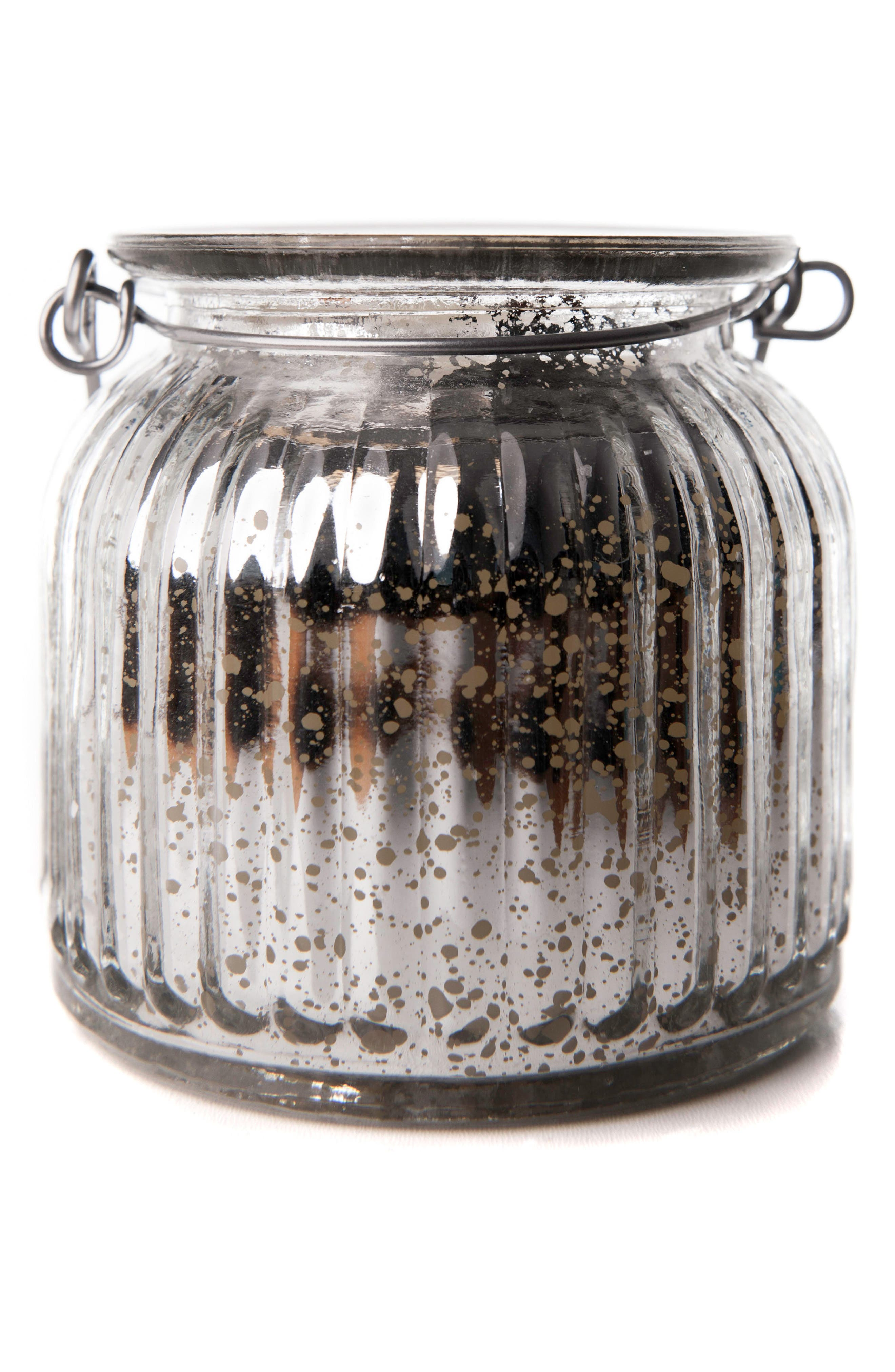 Mercury Glass Jar Flameless Candle,                         Main,                         color, Silver