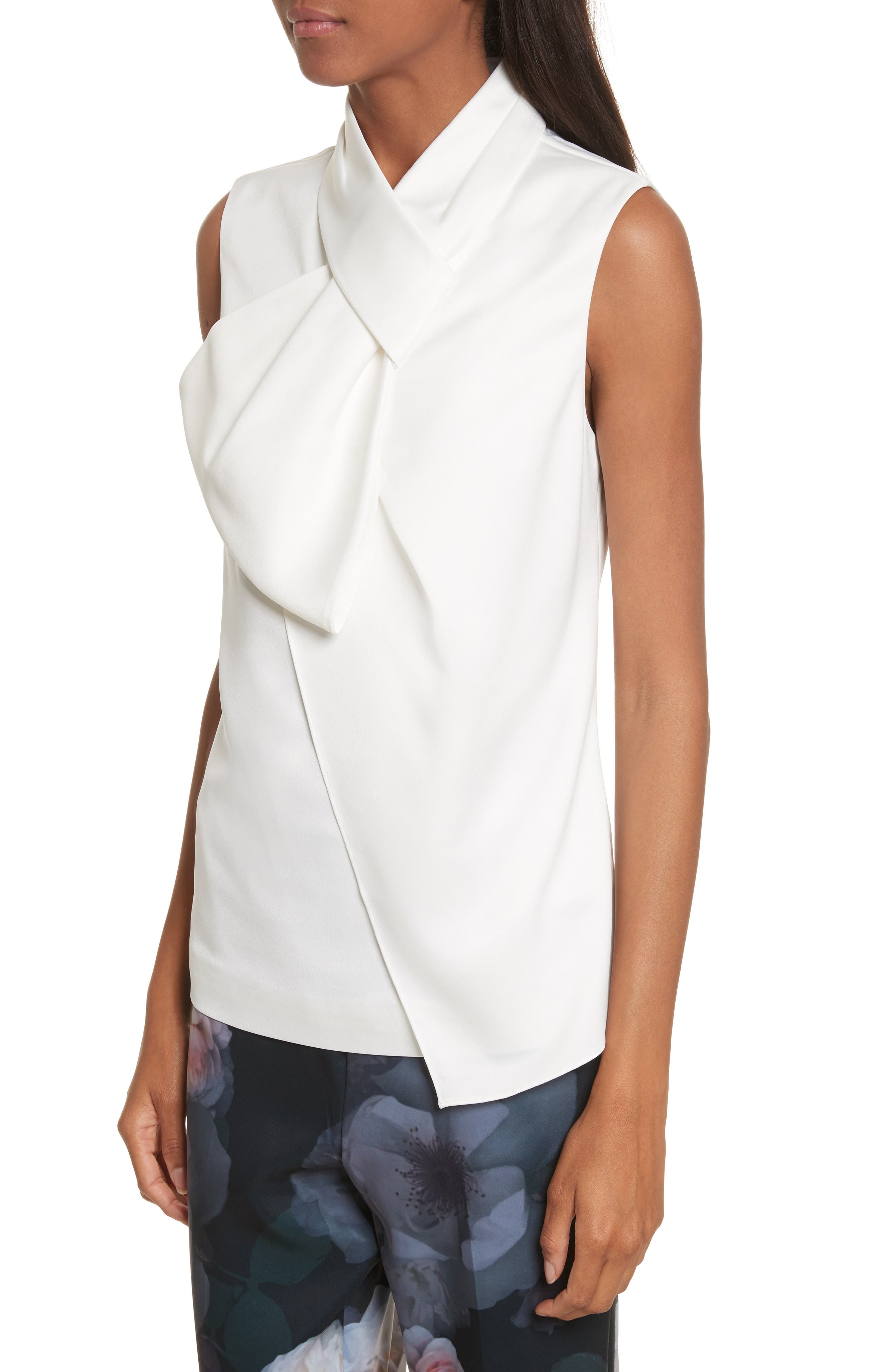 Kristaa Twisted Bow Neck Top,                             Alternate thumbnail 4, color,                             Ivory