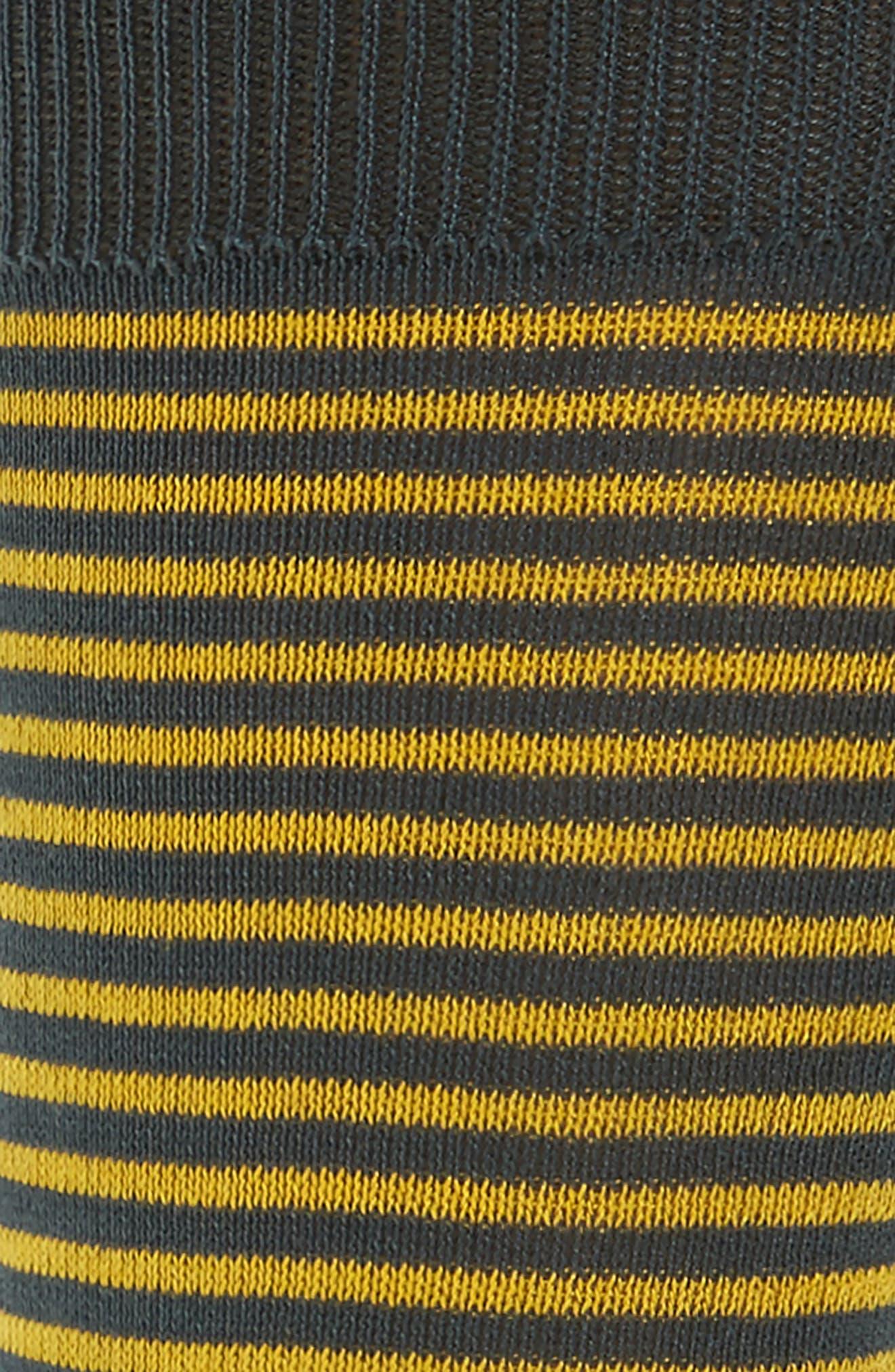 Mini Two-Stripe Socks,                             Alternate thumbnail 2, color,                             Black/ Yellow