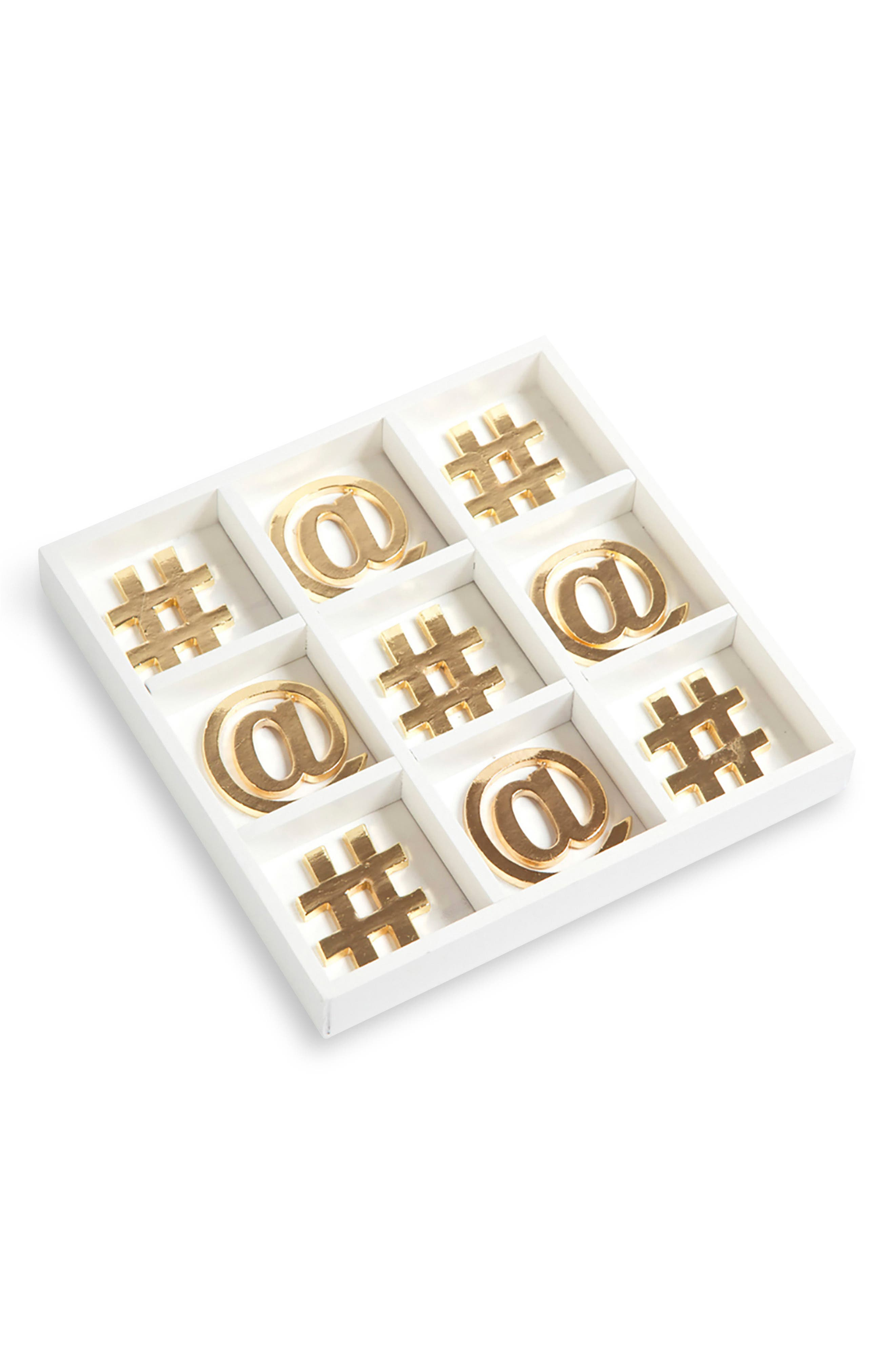 Gold Tic Tac Toe Set,                         Main,                         color, White/ Gold