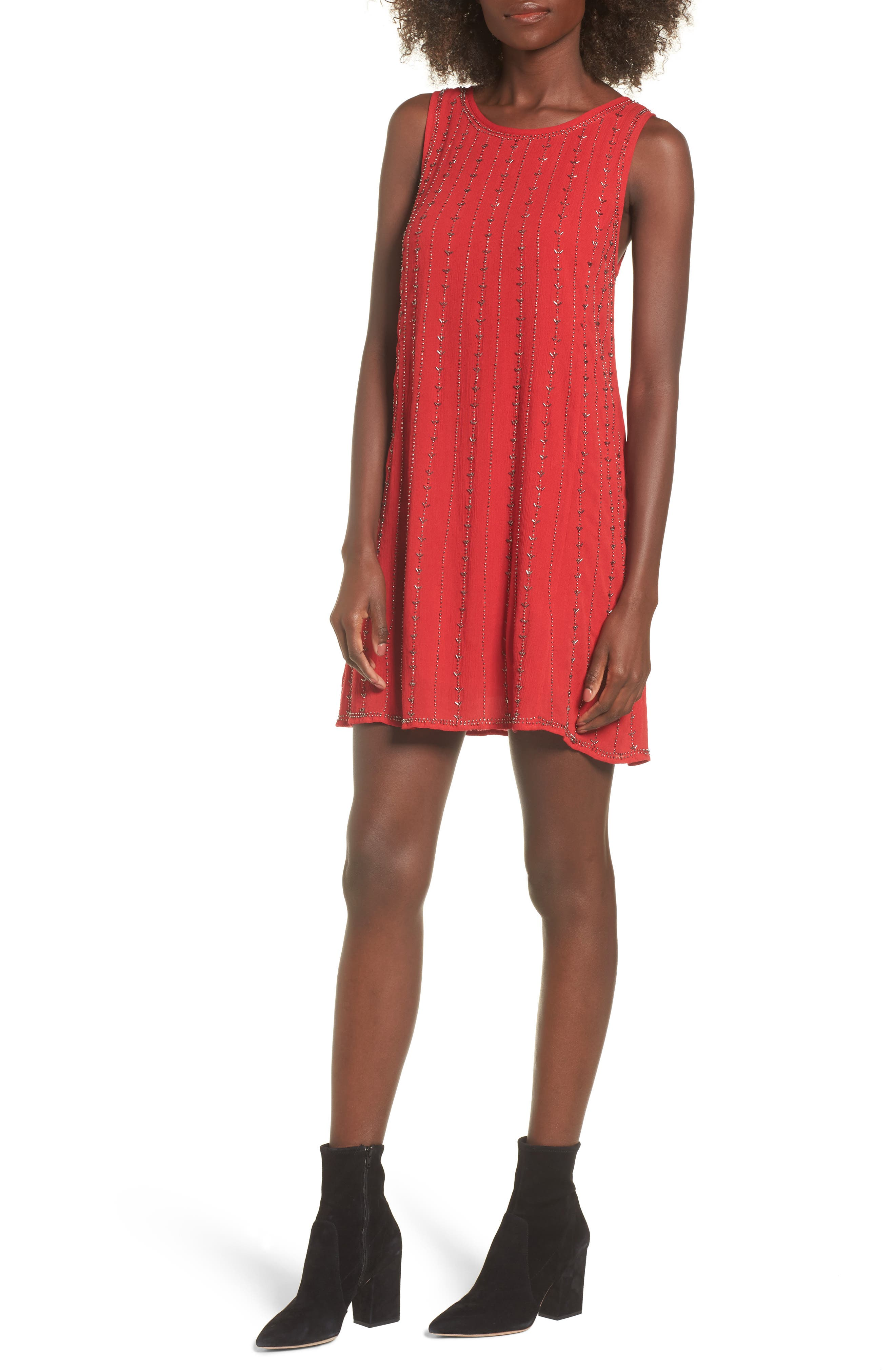 Rouge Beaded Swing Dress,                             Main thumbnail 1, color,                             Red