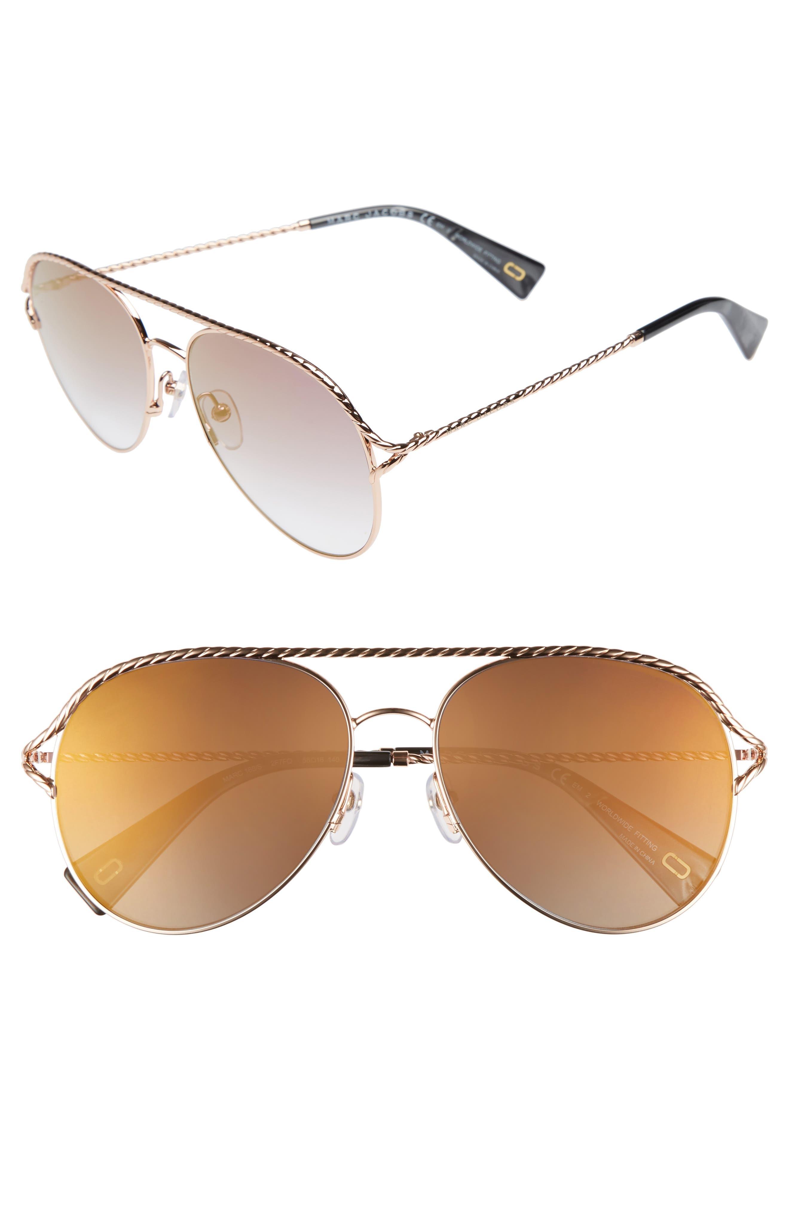 58mm Aviator Sunglasses,                             Main thumbnail 1, color,                             Antique Gold Green