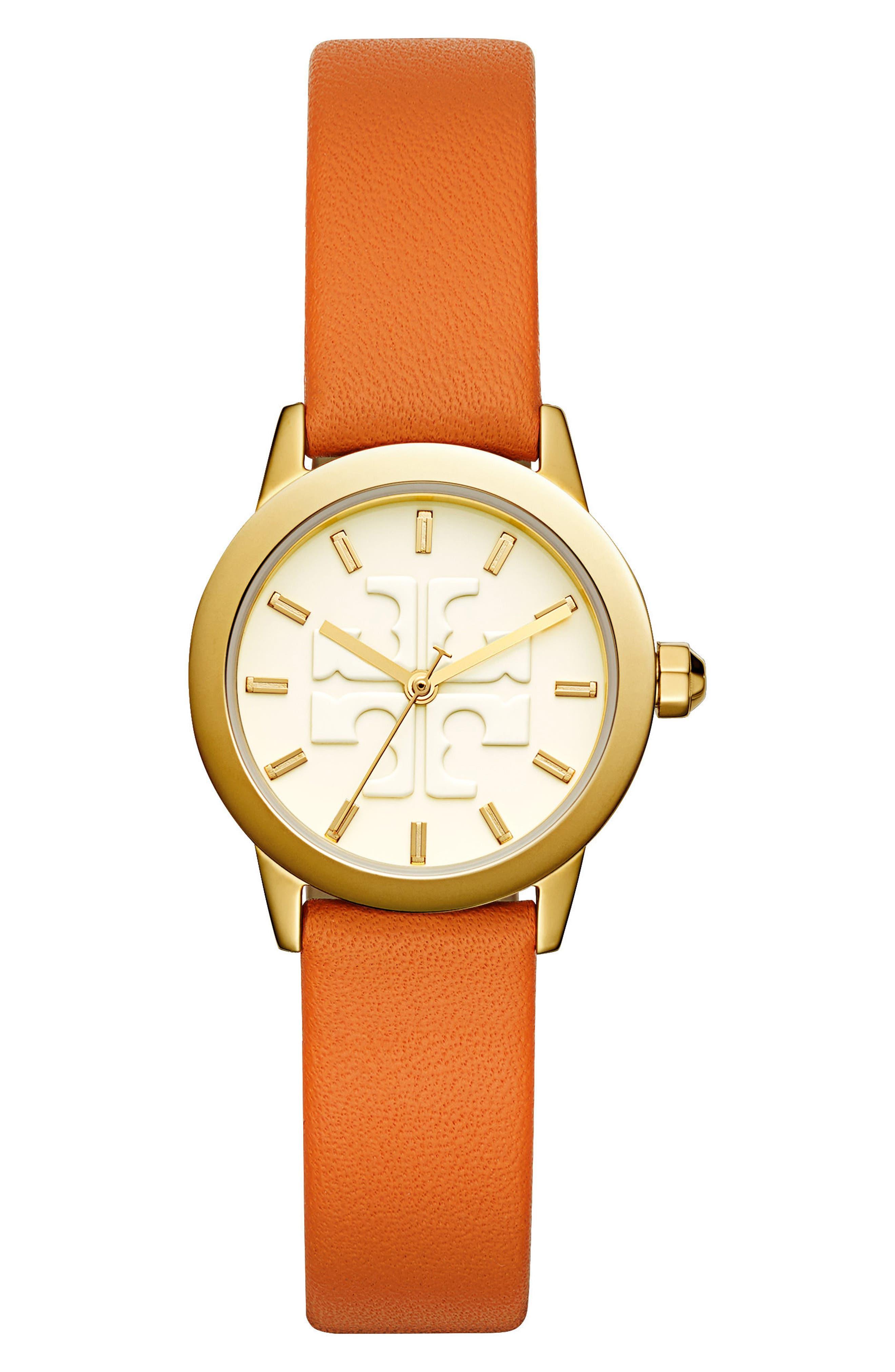Gigi Leather Strap Watch, 28mm,                         Main,                         color, Lilium/ Ivory/ Gold