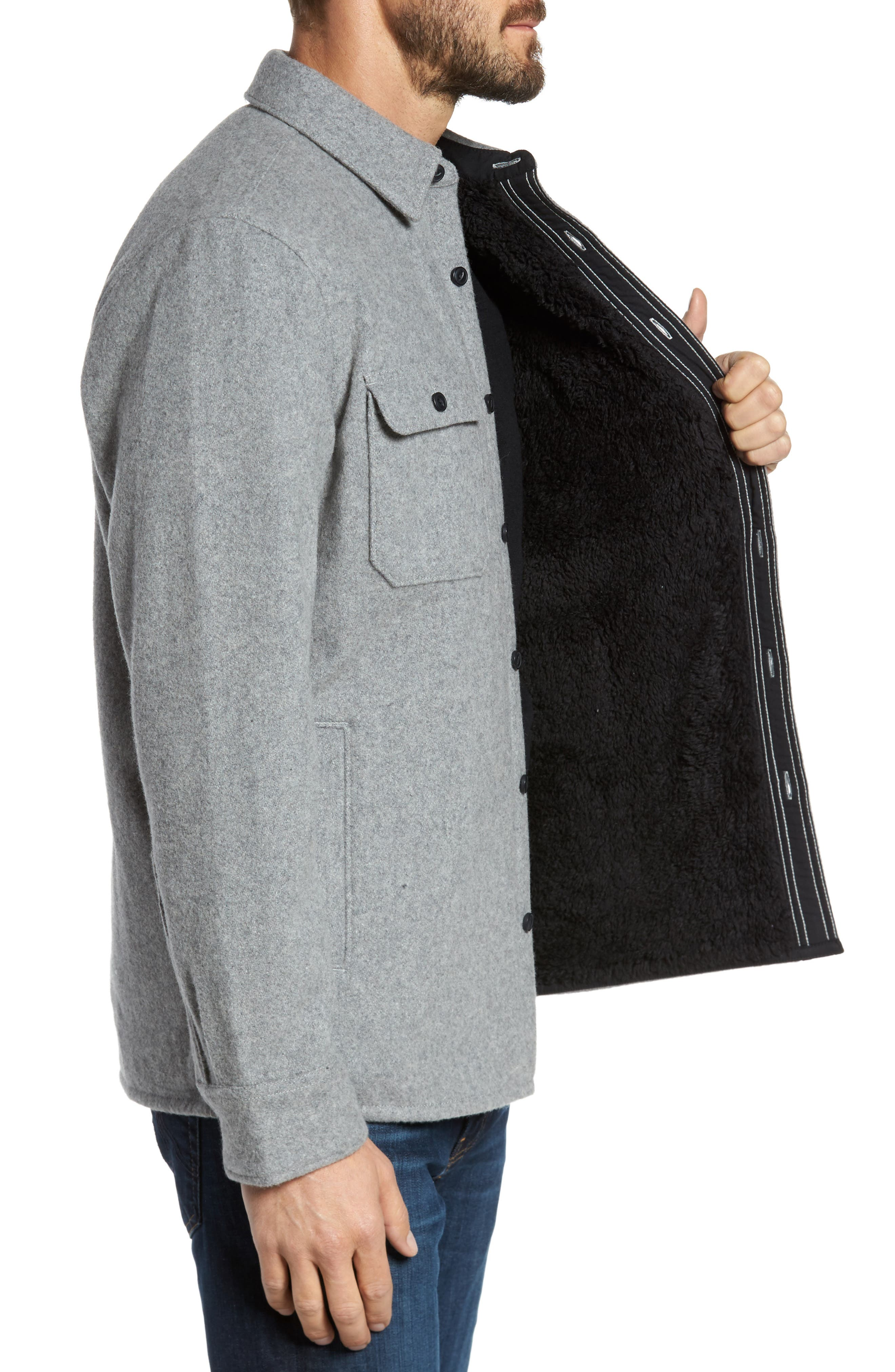 Shirt Jacket,                             Alternate thumbnail 3, color,                             Heather Grey
