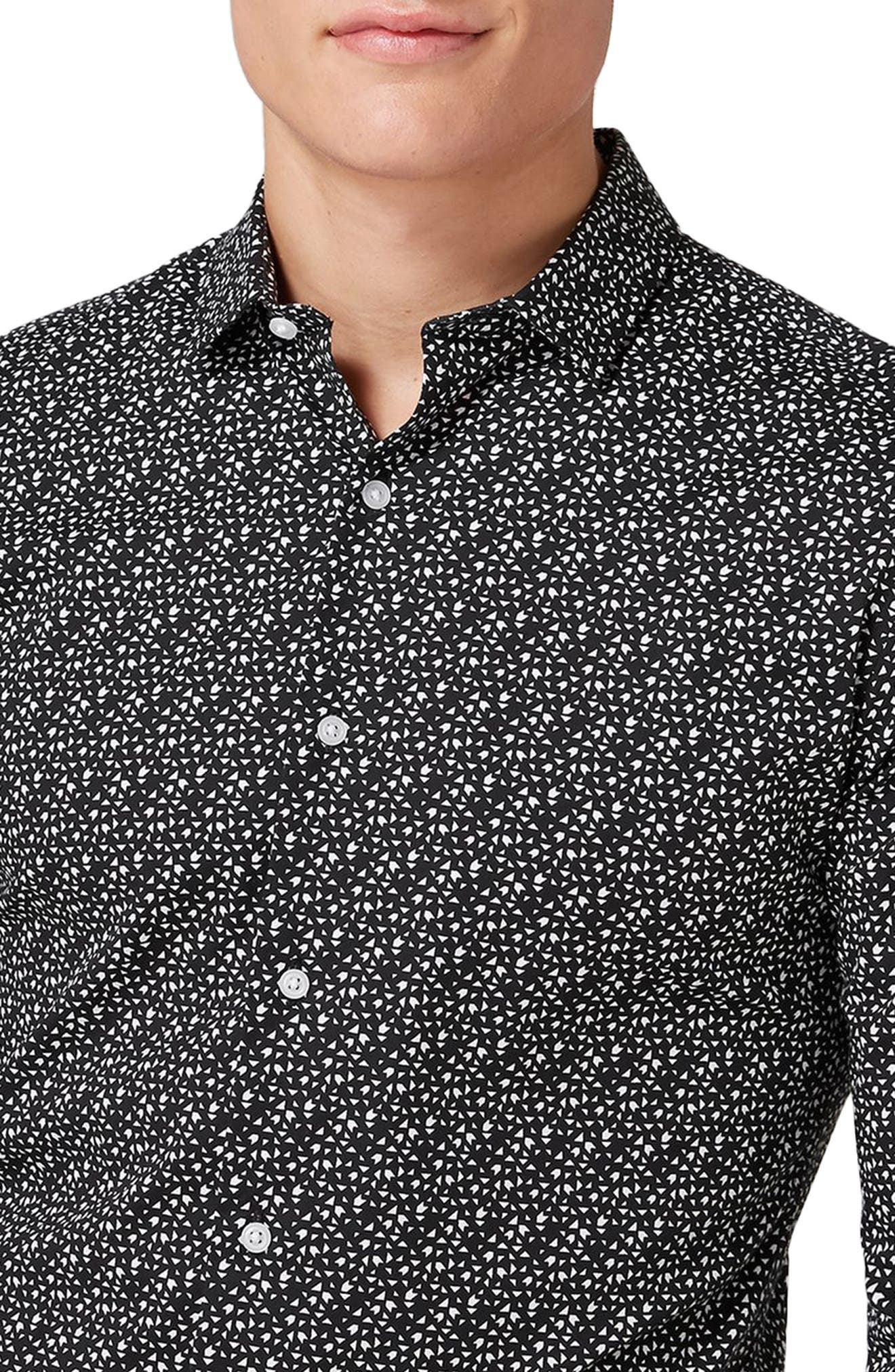 Skinny Fit Geo Print Stretch Woven Shirt,                             Alternate thumbnail 3, color,                             Black Multi