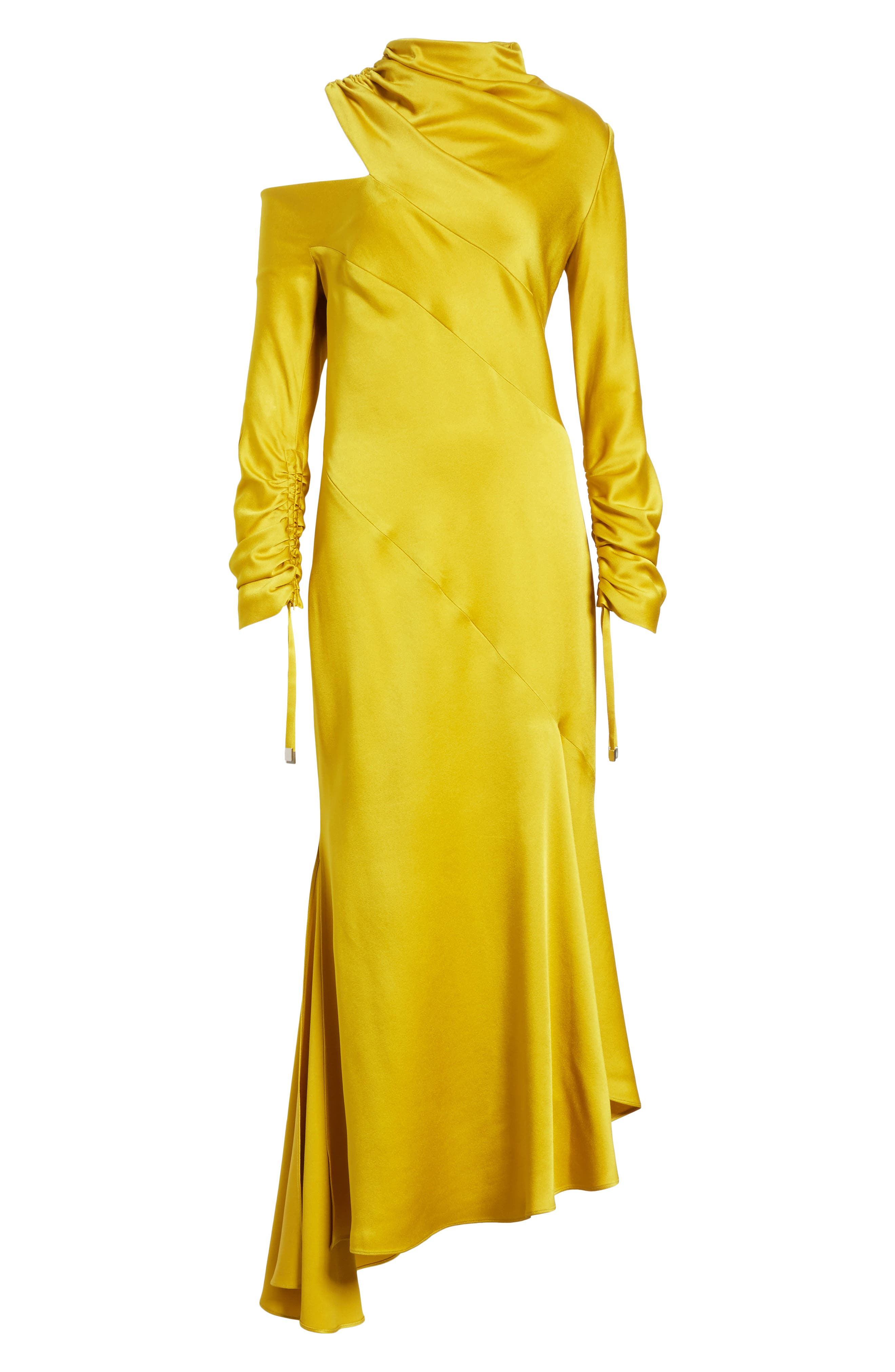 Crepe Back Satin Cold Shoulder Dress,                             Alternate thumbnail 7, color,                             Yellow