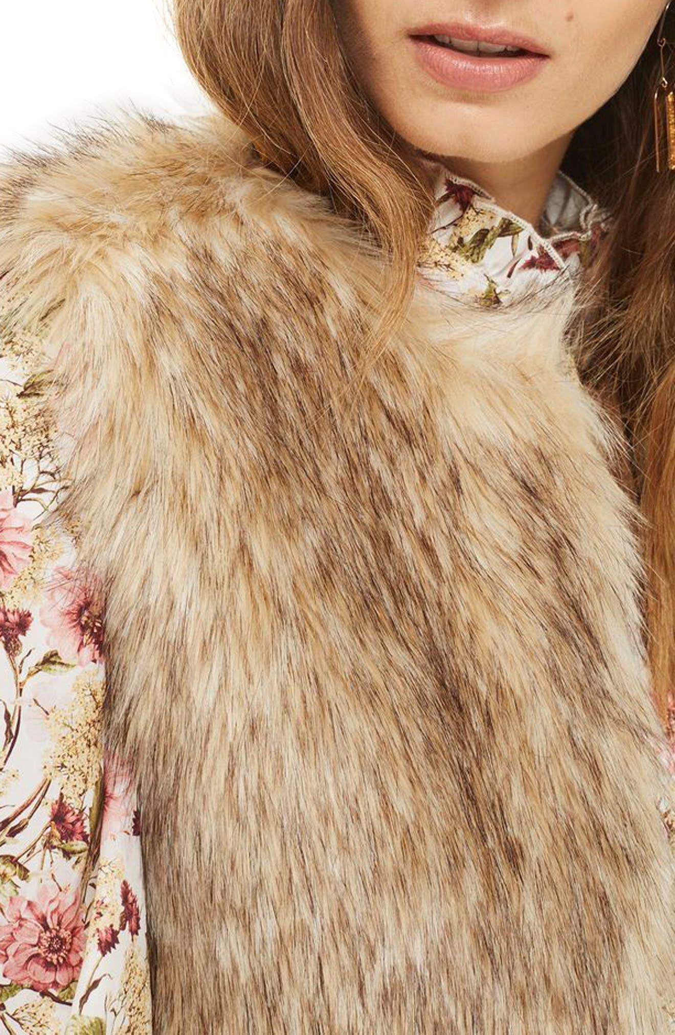 Faux Fur Vest,                             Alternate thumbnail 4, color,                             Brown