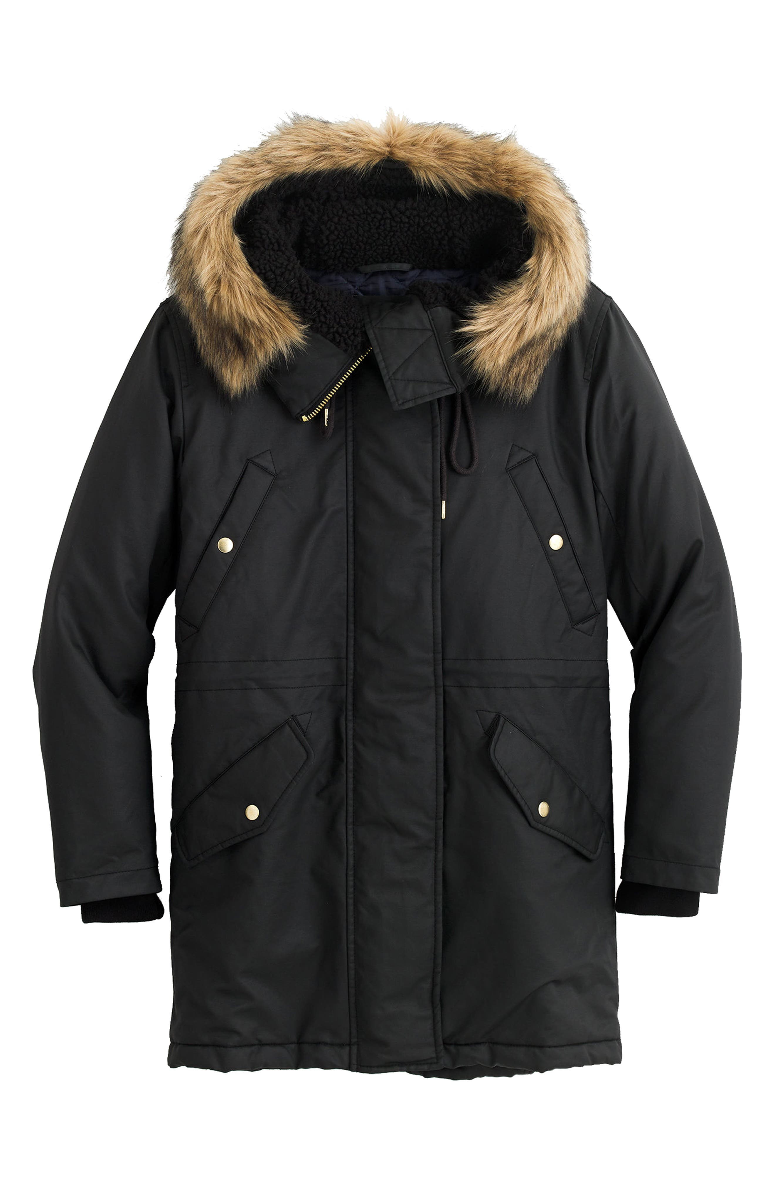 J.Crew Perfect Winter Parka with Faux Fur Trim (Regular & Petite)