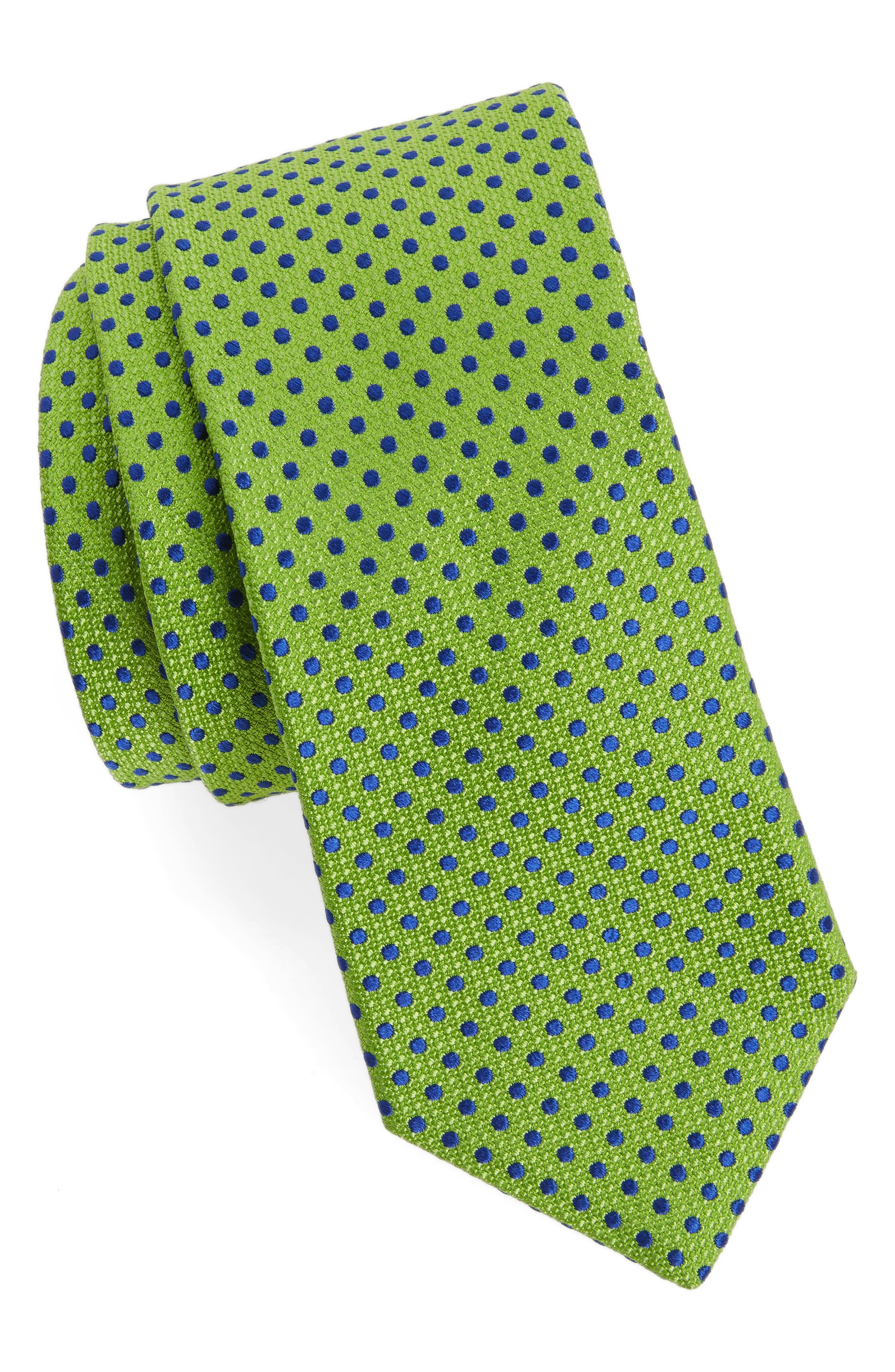 Small Dot Silk Tie,                         Main,                         color, Green