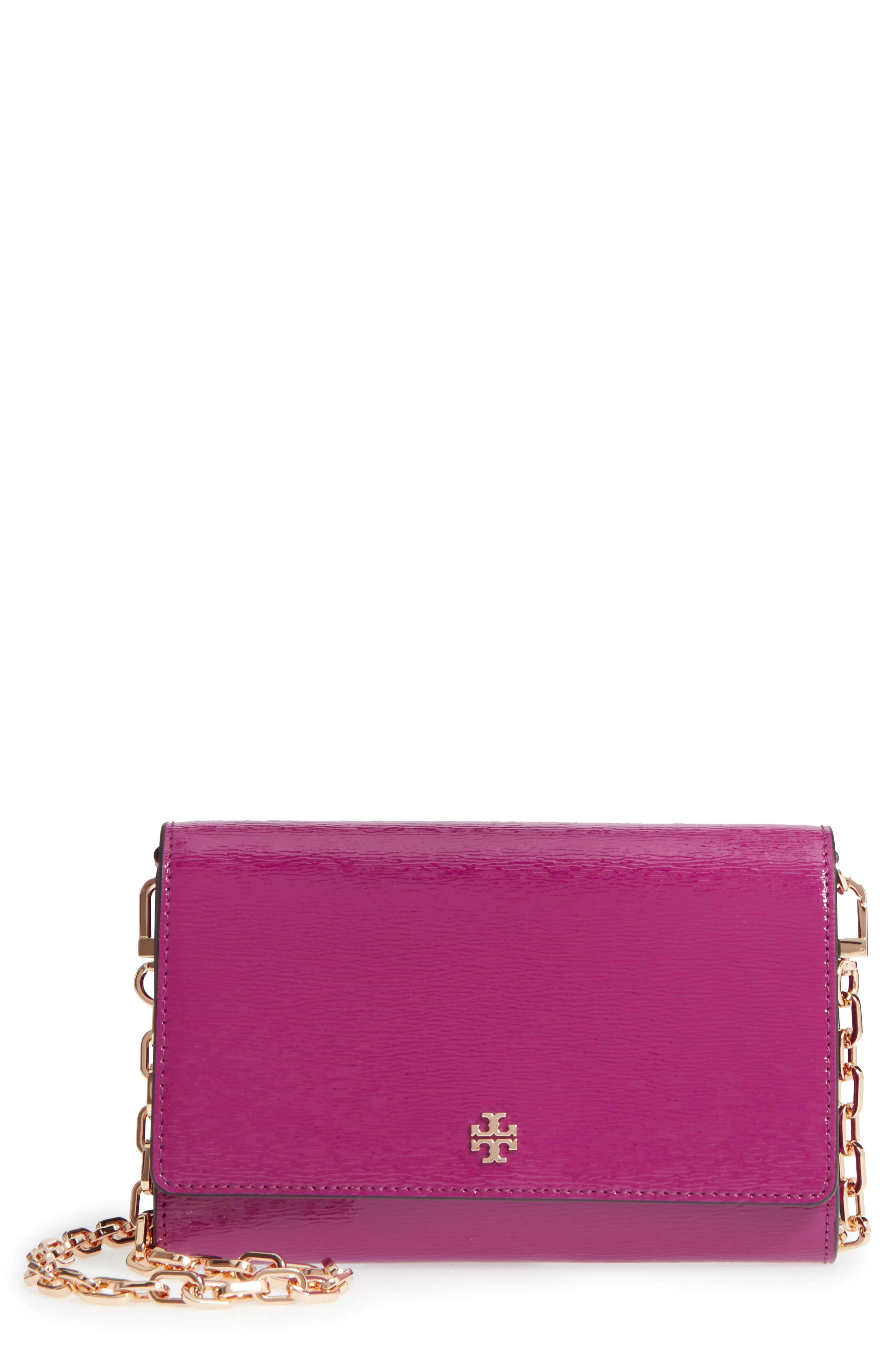 Tory Burch Robinson Patent Leather Wallet on a Chain
