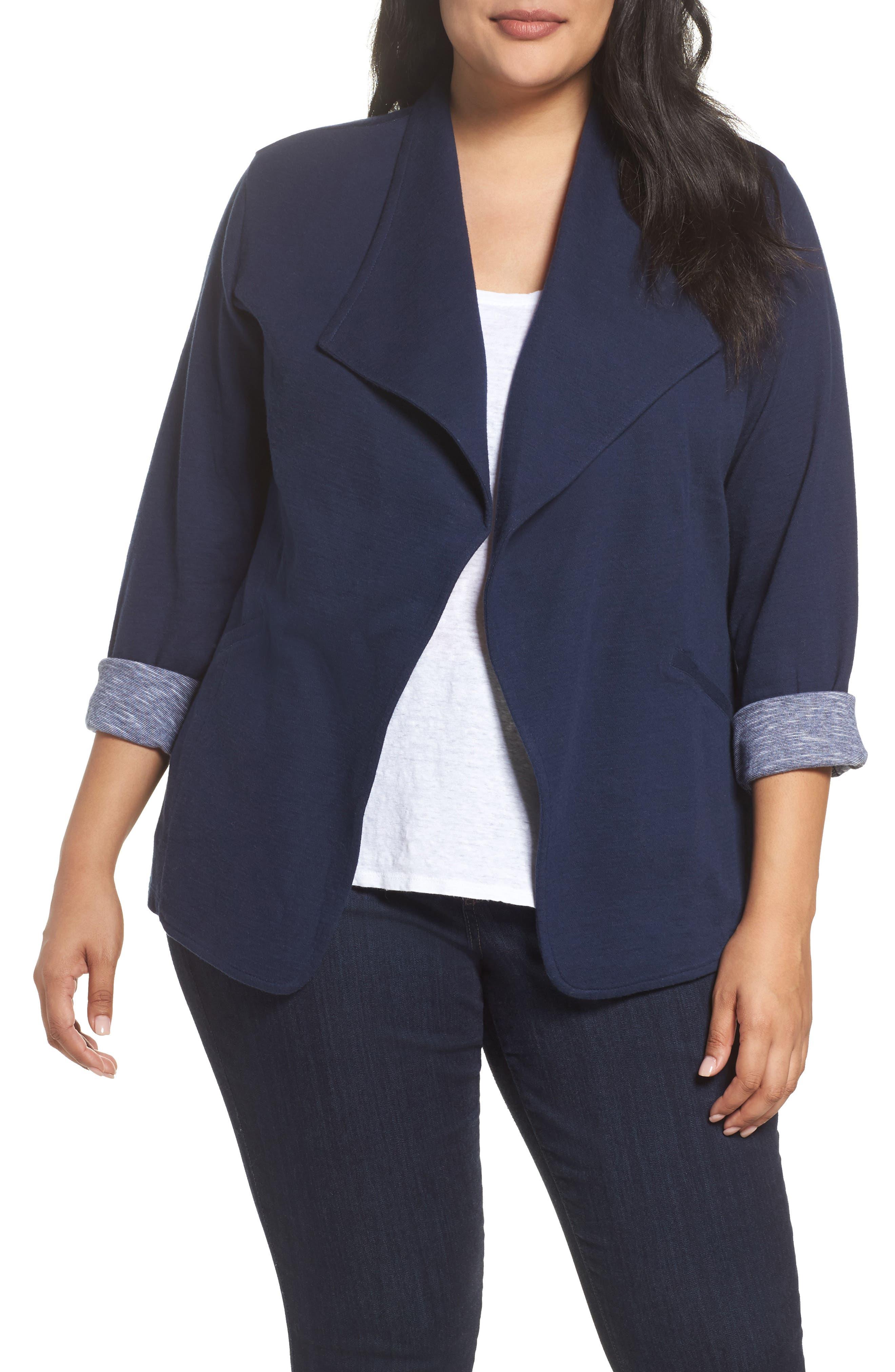 Caslon® Wing Collar Knit Blazer (Plus Size)