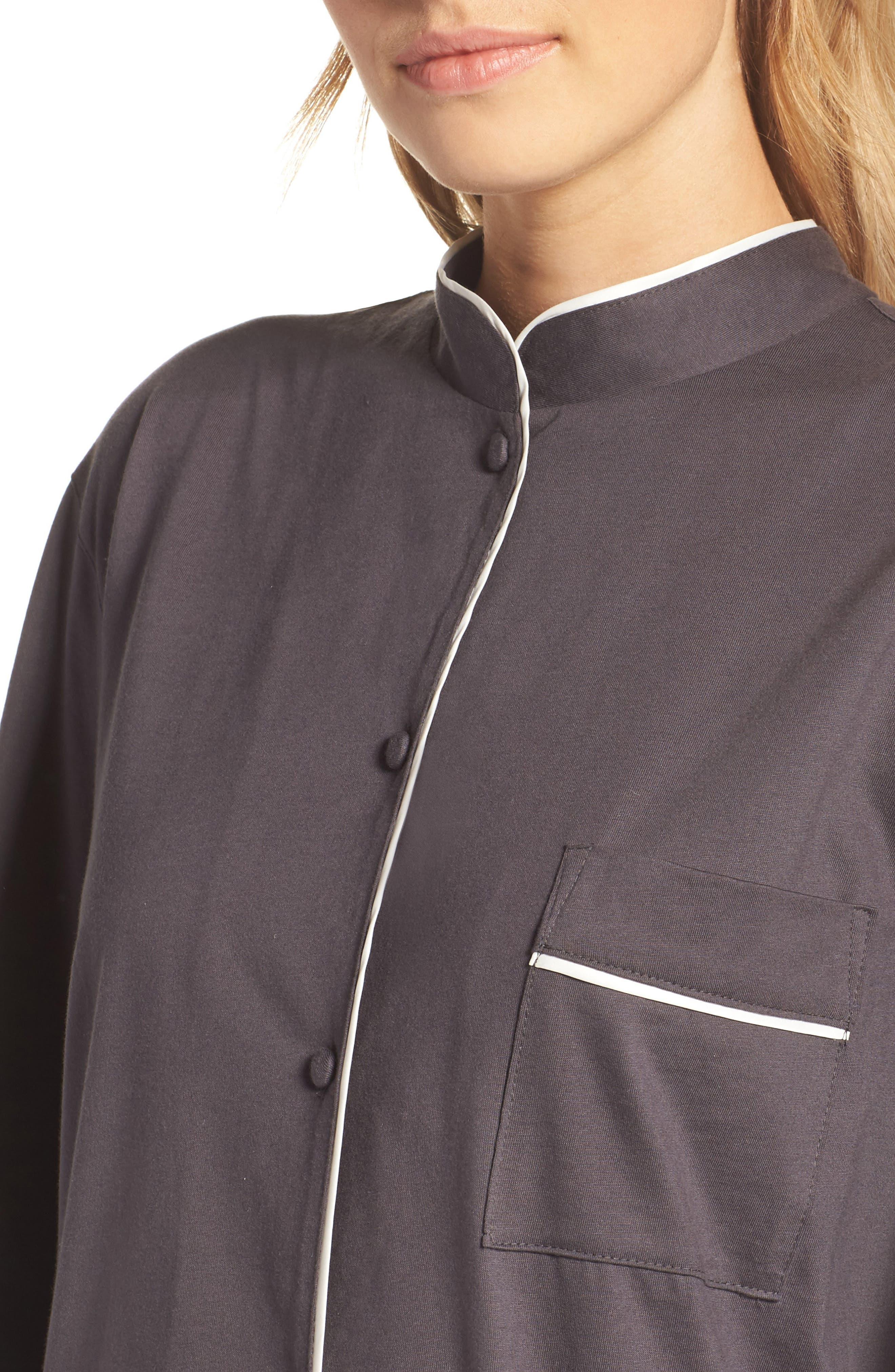 Bliss Supima<sup>®</sup> Cotton Mandarin Pajamas,                             Alternate thumbnail 4, color,                             Graphite