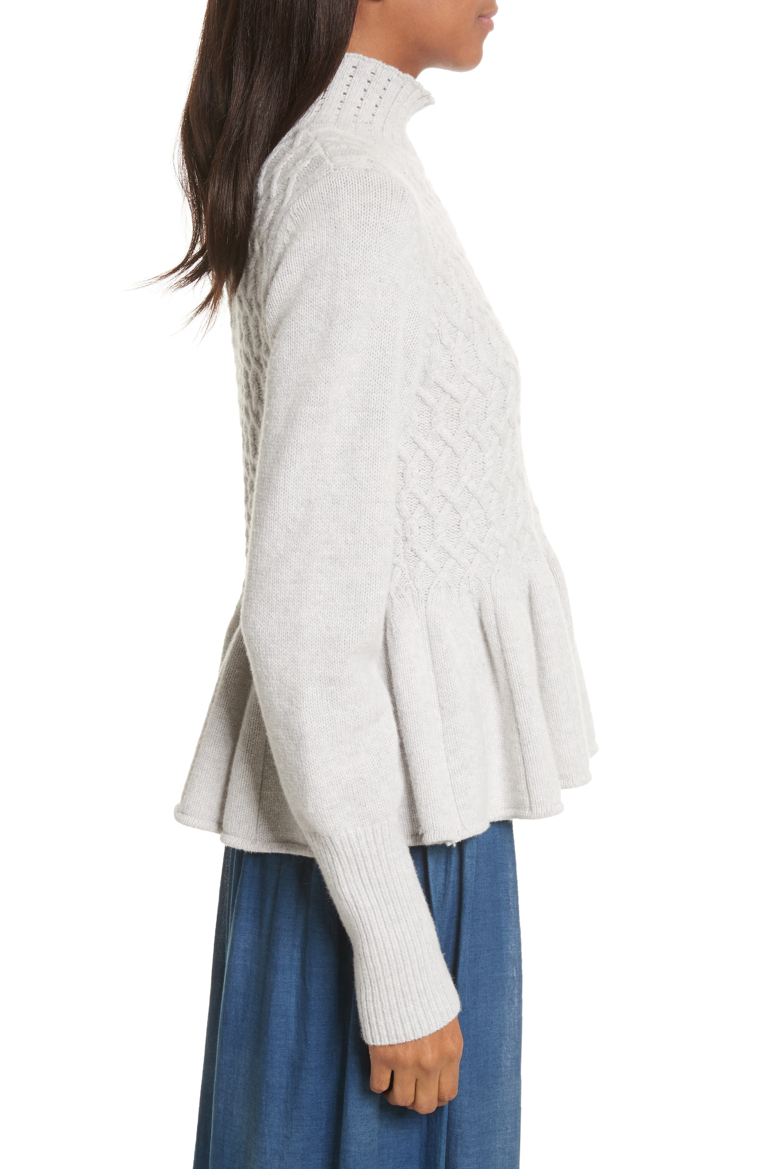 Braided Cable Mock Neck Pullover,                             Alternate thumbnail 3, color,                             Light Heather Grey