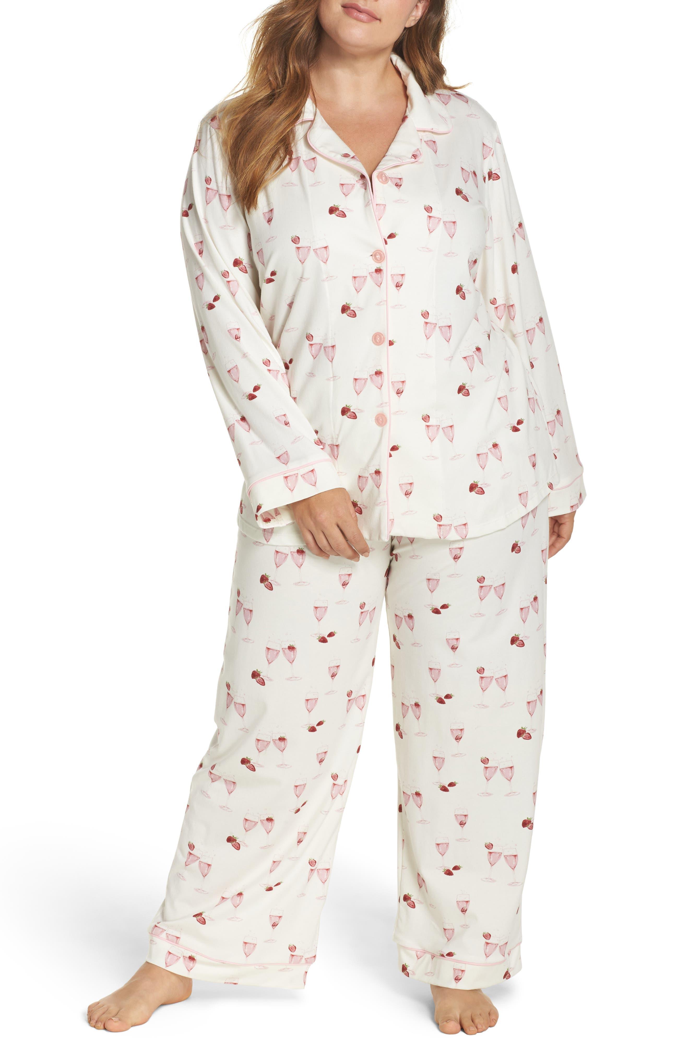 Strawberries & Champagne Print Pajamas,                         Main,                         color, Strawberries And Champagne