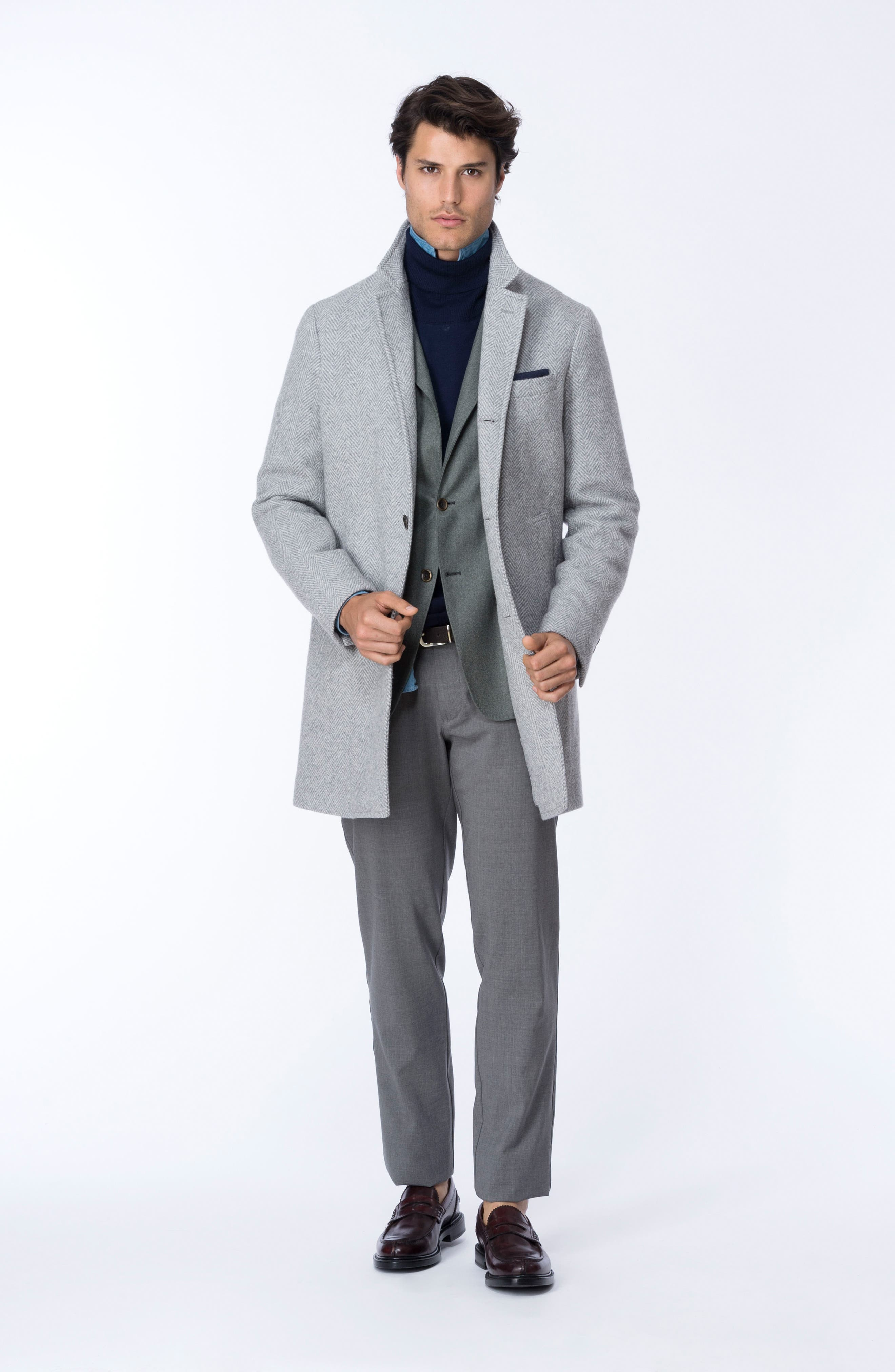 Alternate Image 6  - Eleventy Herringbone Wool Blend Overcoat