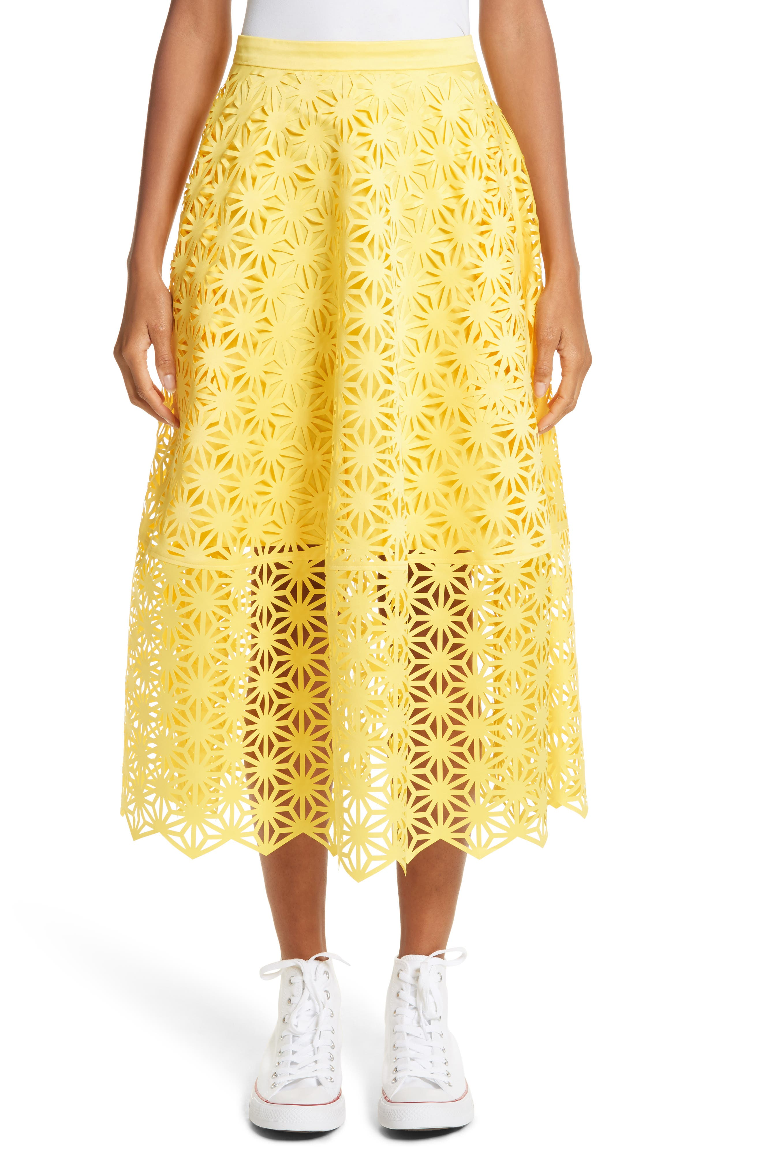 Double Layered Laser Cut Skirt,                         Main,                         color, Yellow