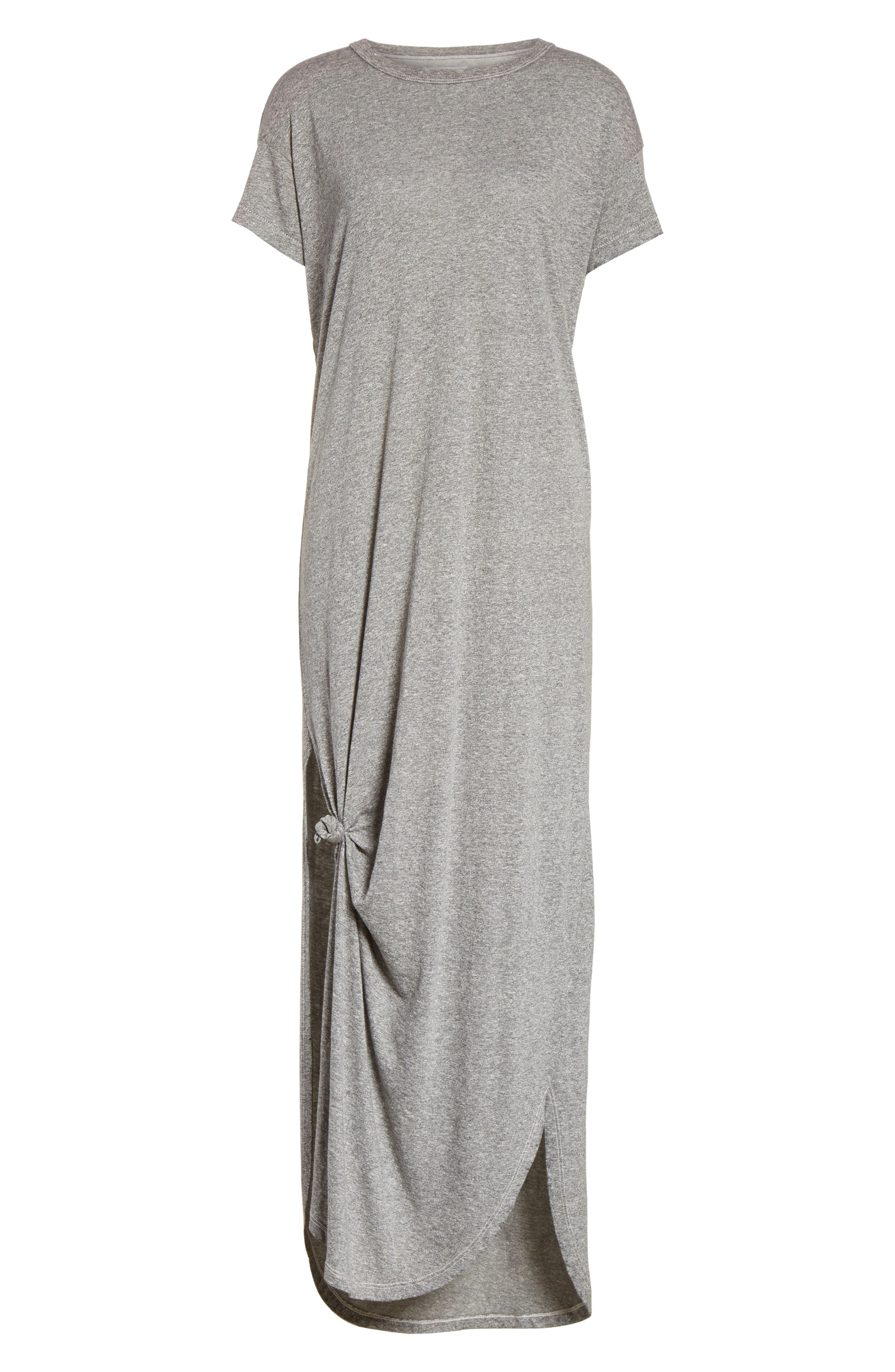 The Knotted Tee Dress,                             Alternate thumbnail 7, color,                             Heather Grey