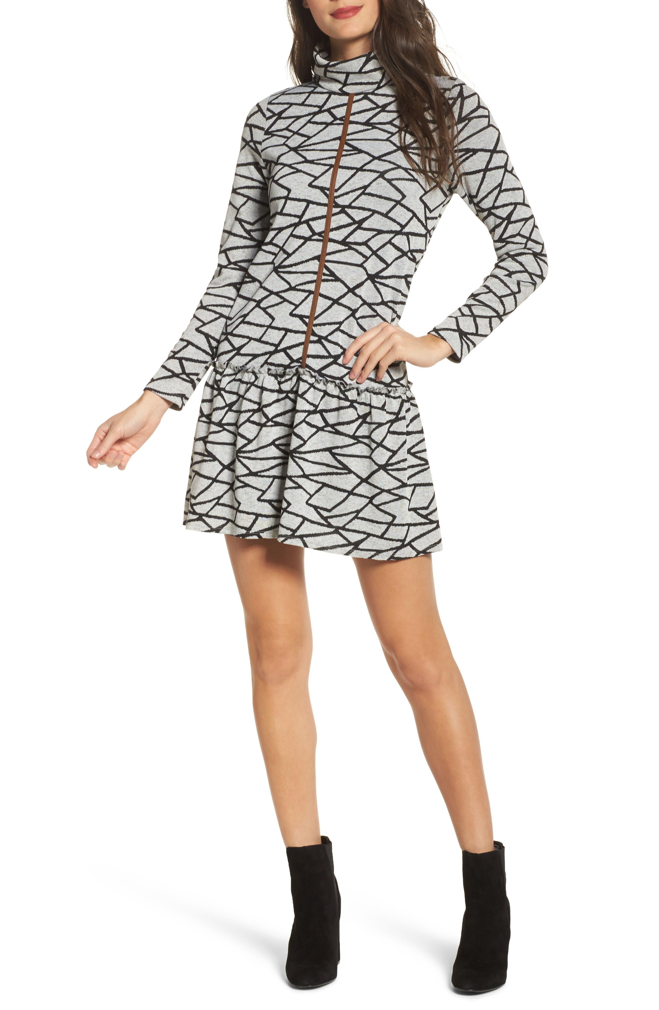 Turtleneck Sweater Dress,                         Main,                         color, Black
