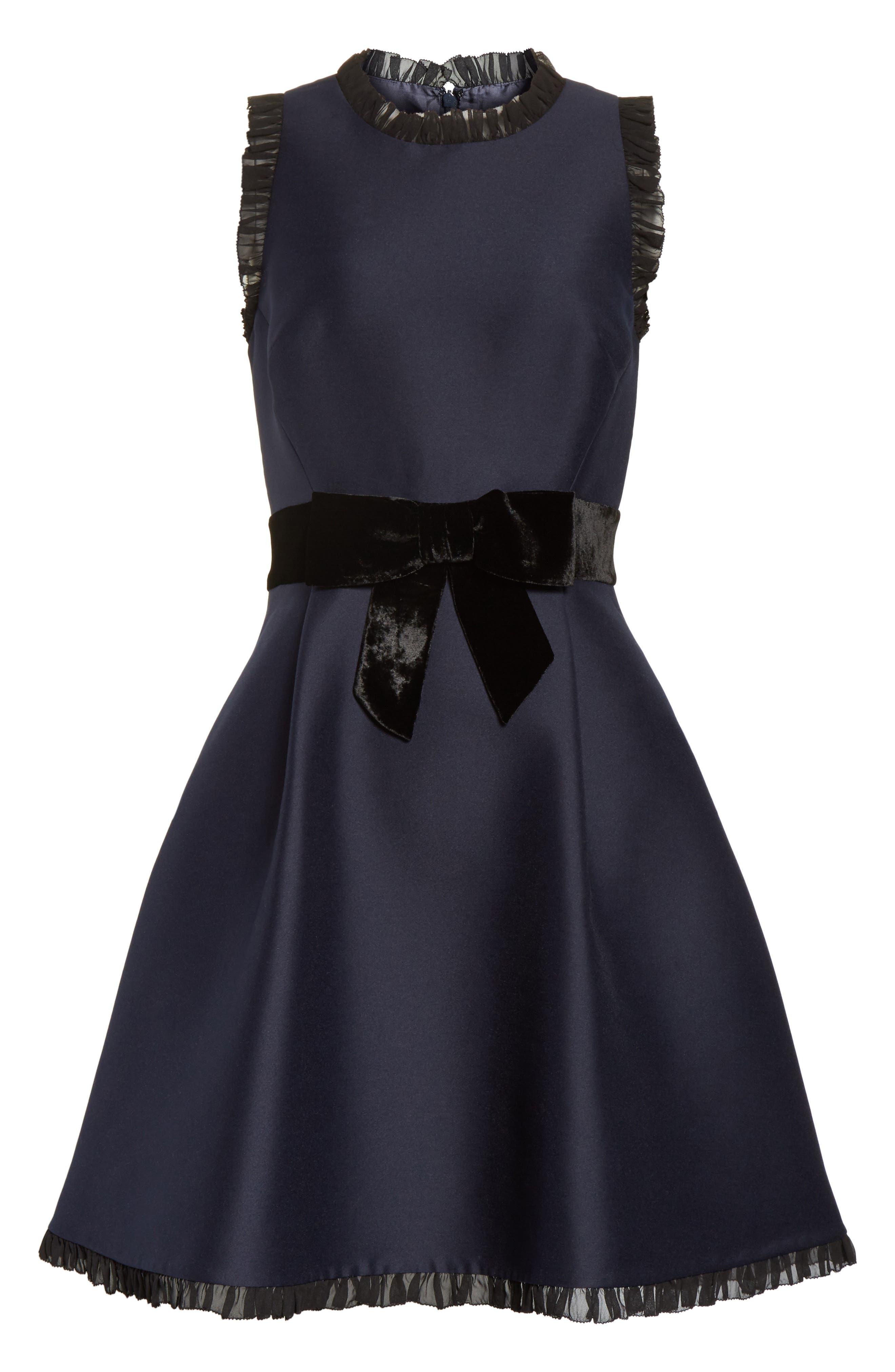velvet bow fit & flare dress,                             Alternate thumbnail 6, color,                             Rich Navy