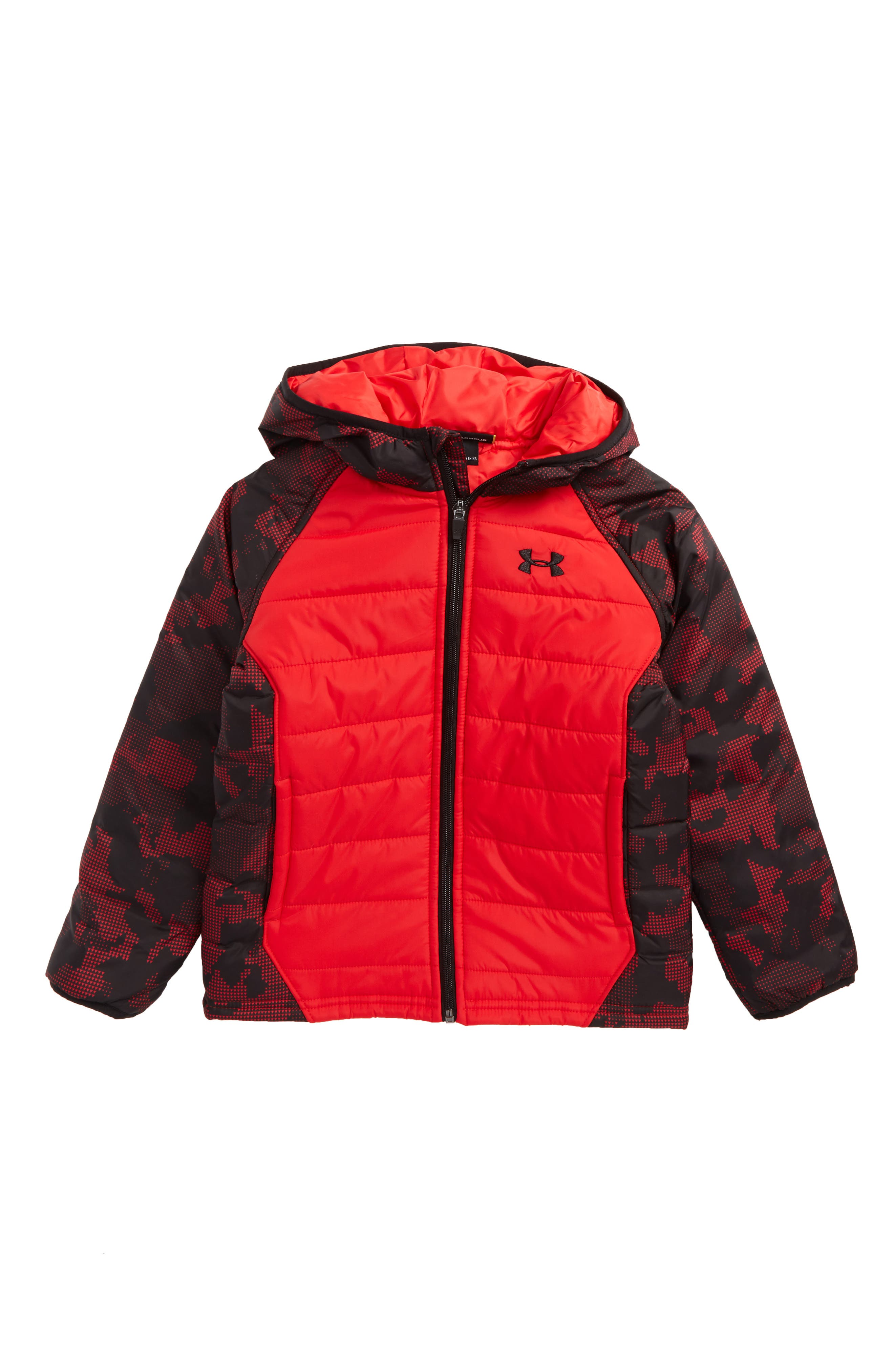Werewolf Water Resistant Hooded Puffer Jacket,                             Main thumbnail 1, color,                             Red